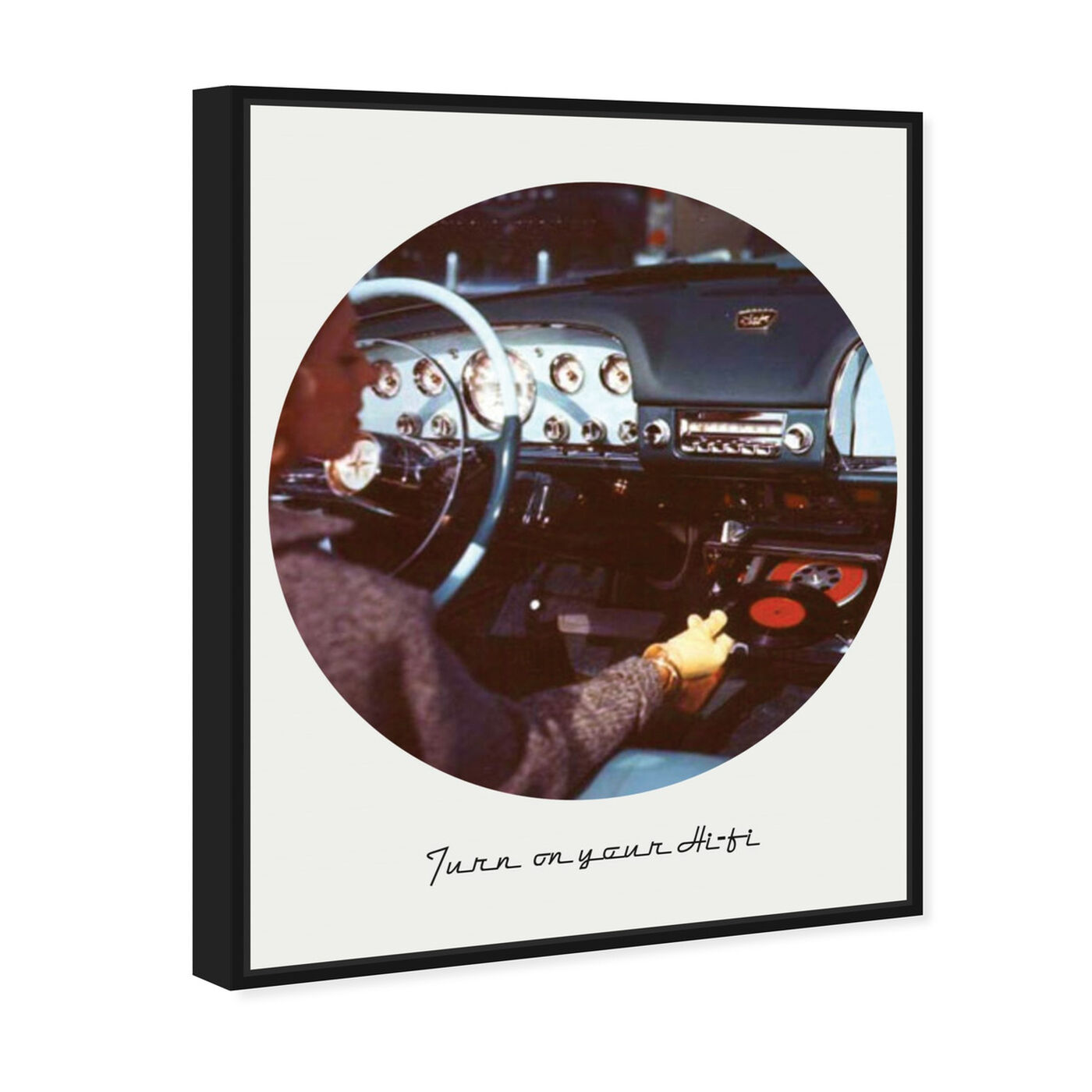 Angled view of Turn on your HiFi featuring transportation and automobiles art.