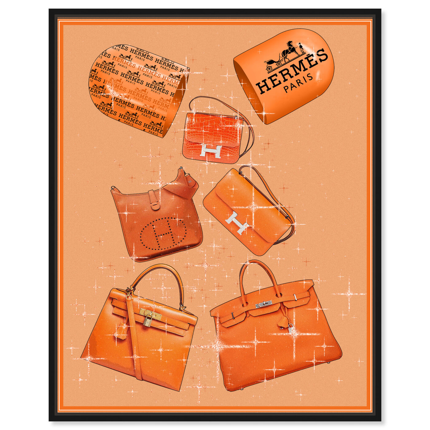 Front view of Handbags Orange Boost featuring fashion and glam and handbags art.