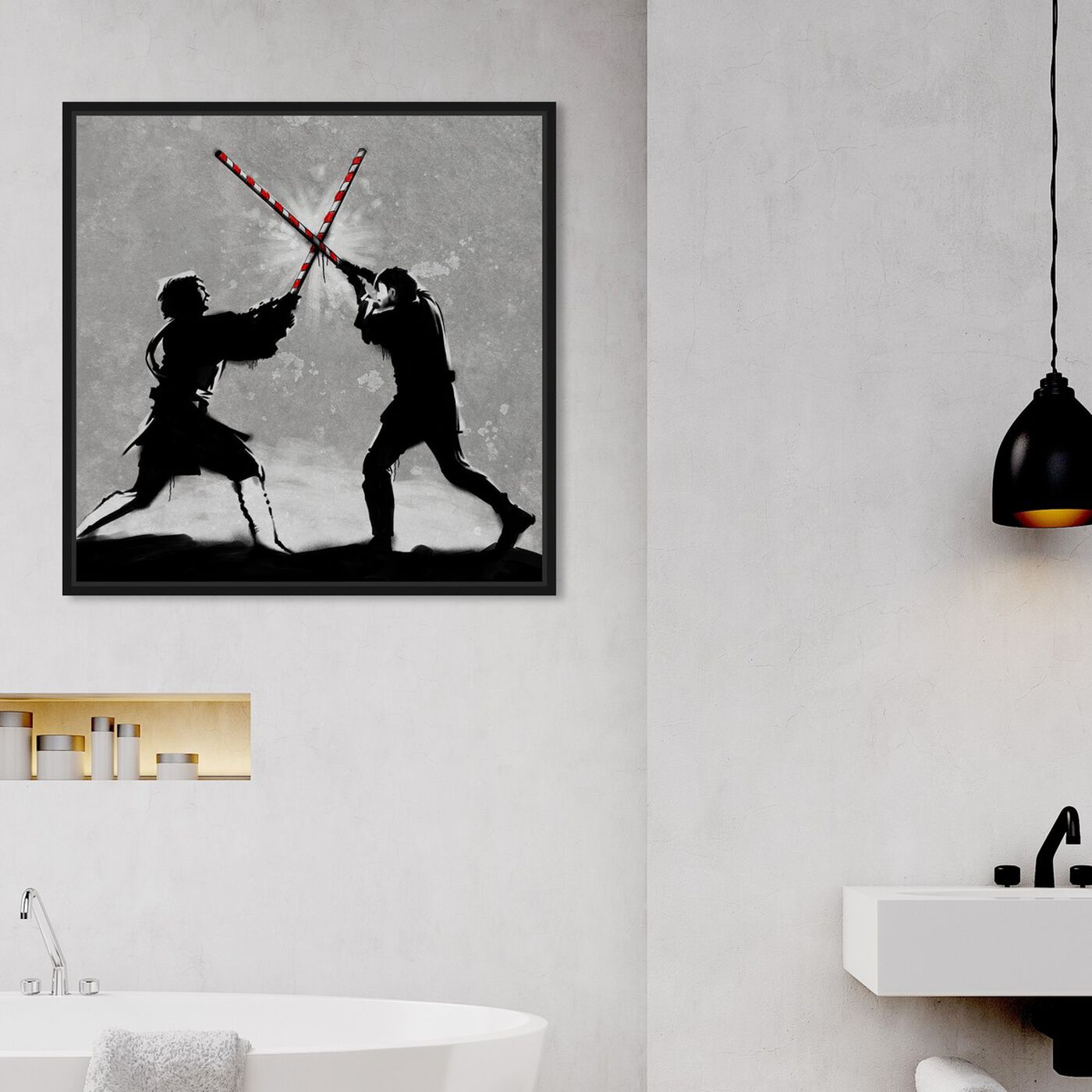 Hanging view of Force of the Straw featuring movies and tv and movie characters art.