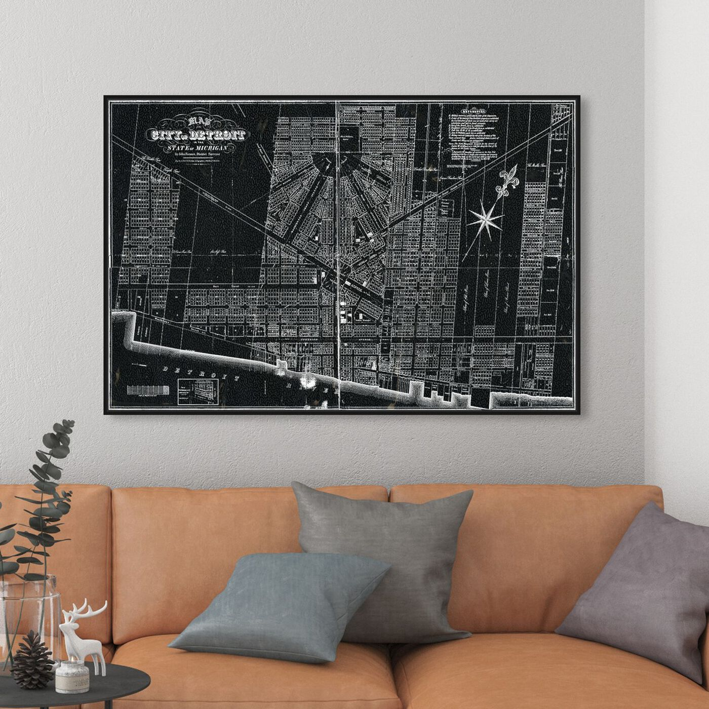Hanging view of Detroit Map 1835 featuring maps and flags and us cities maps art.