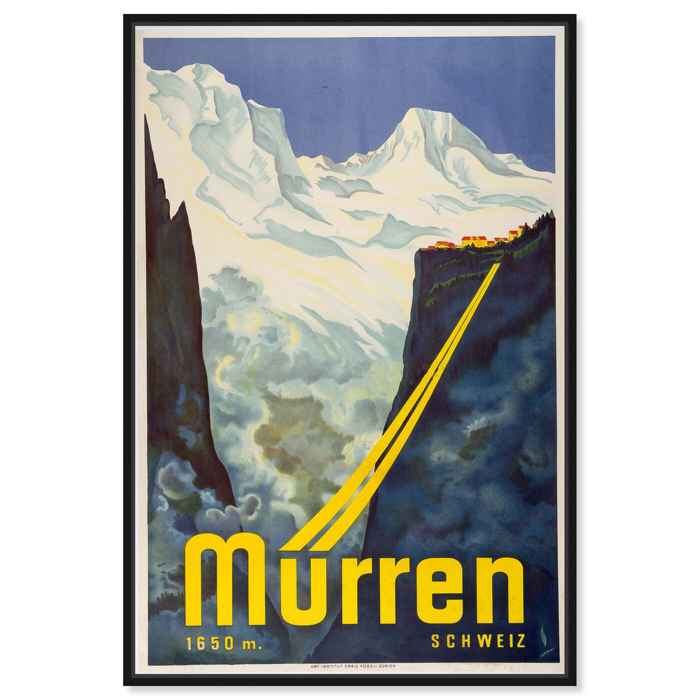 Front view of Murren Ski featuring advertising and posters art.