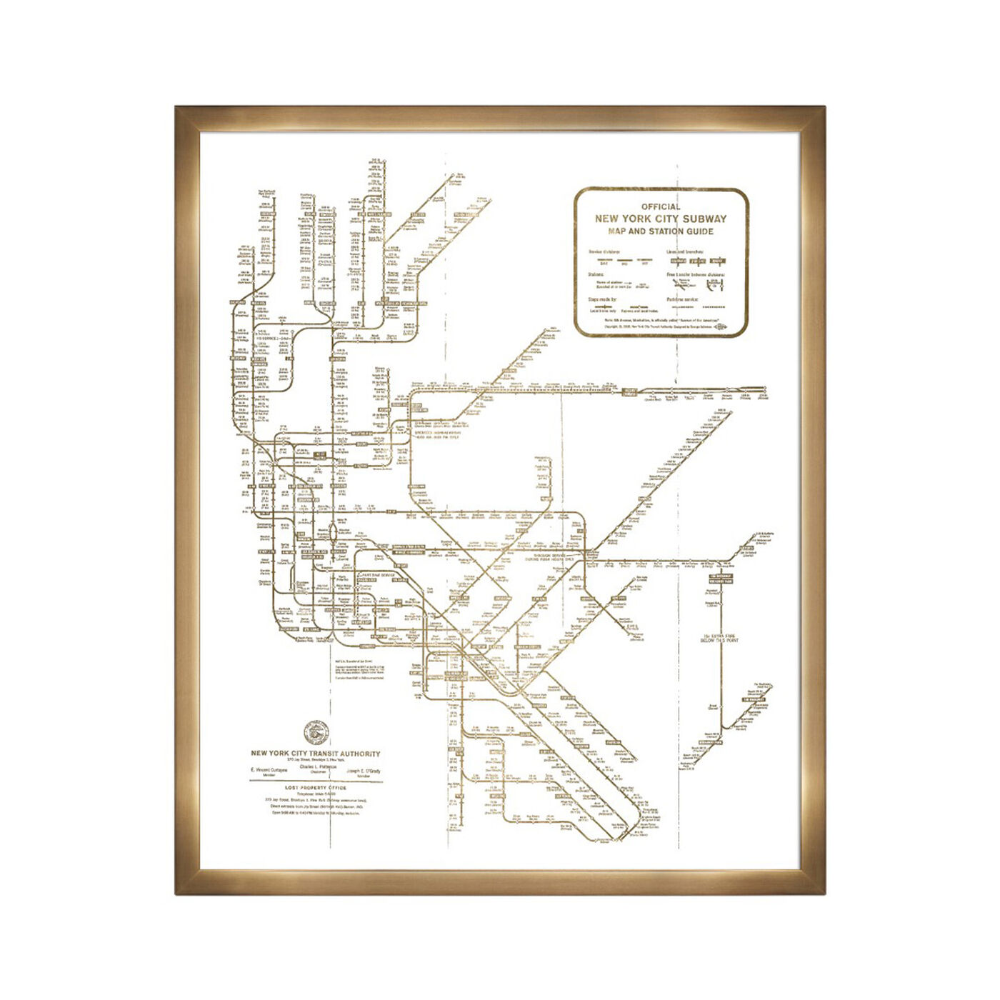 New York Subway Map 1958- Gold Metallic