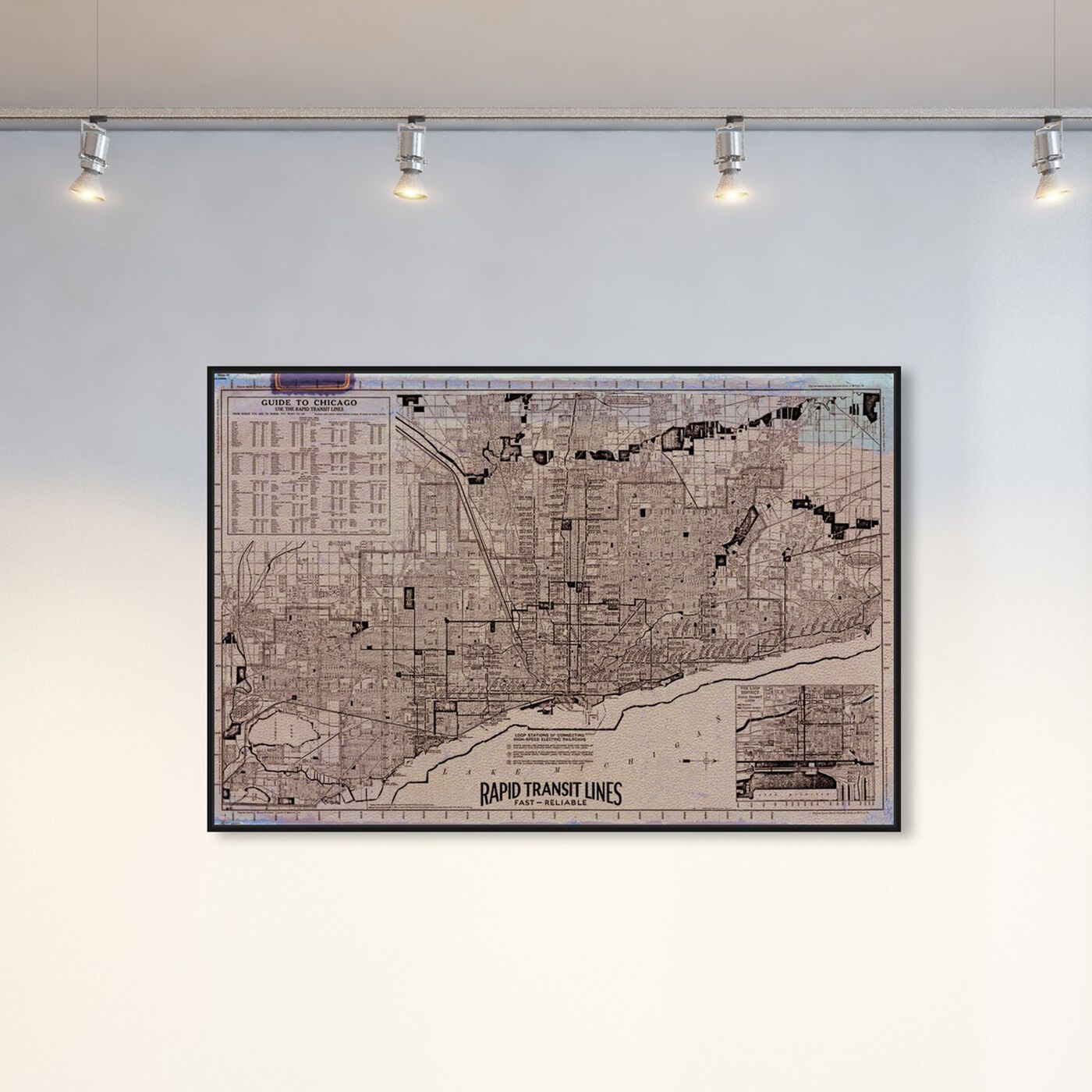 Hanging view of Chicago Rapid Transit Lines 1926 featuring maps and flags and us cities maps art.