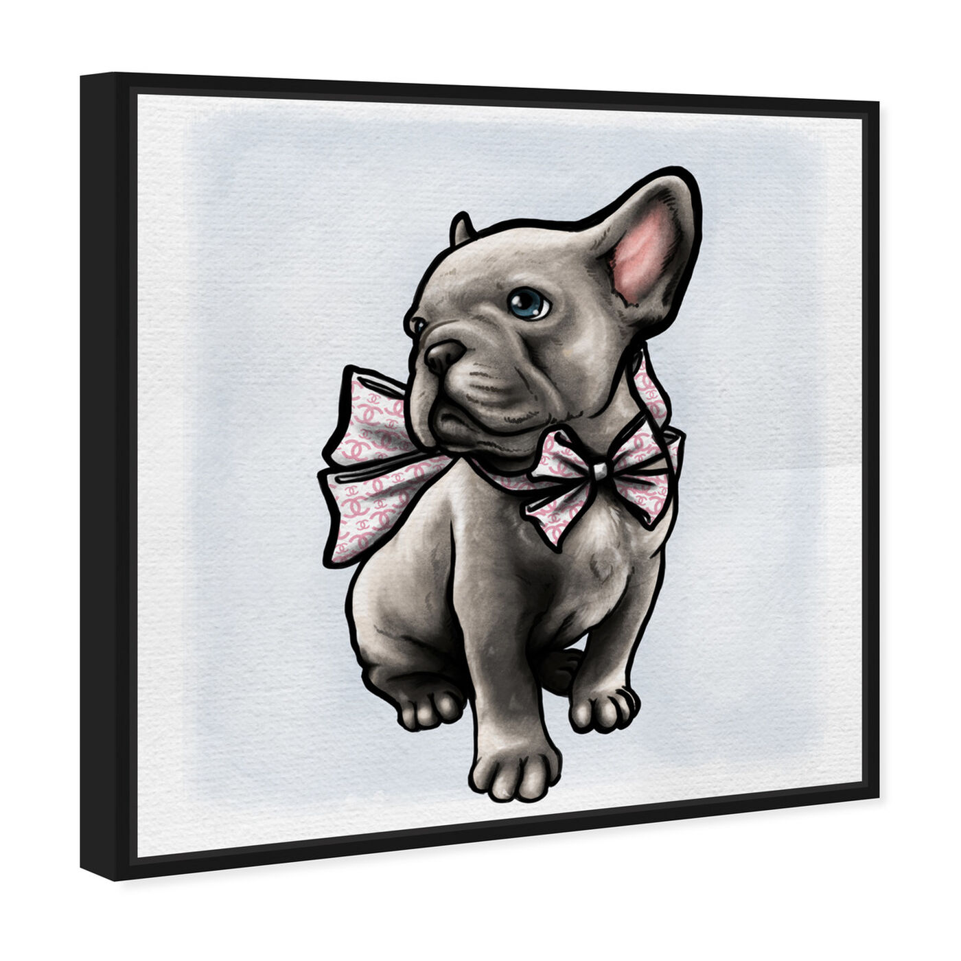Angled view of Frenchie with Bow featuring animals and dogs and puppies art.