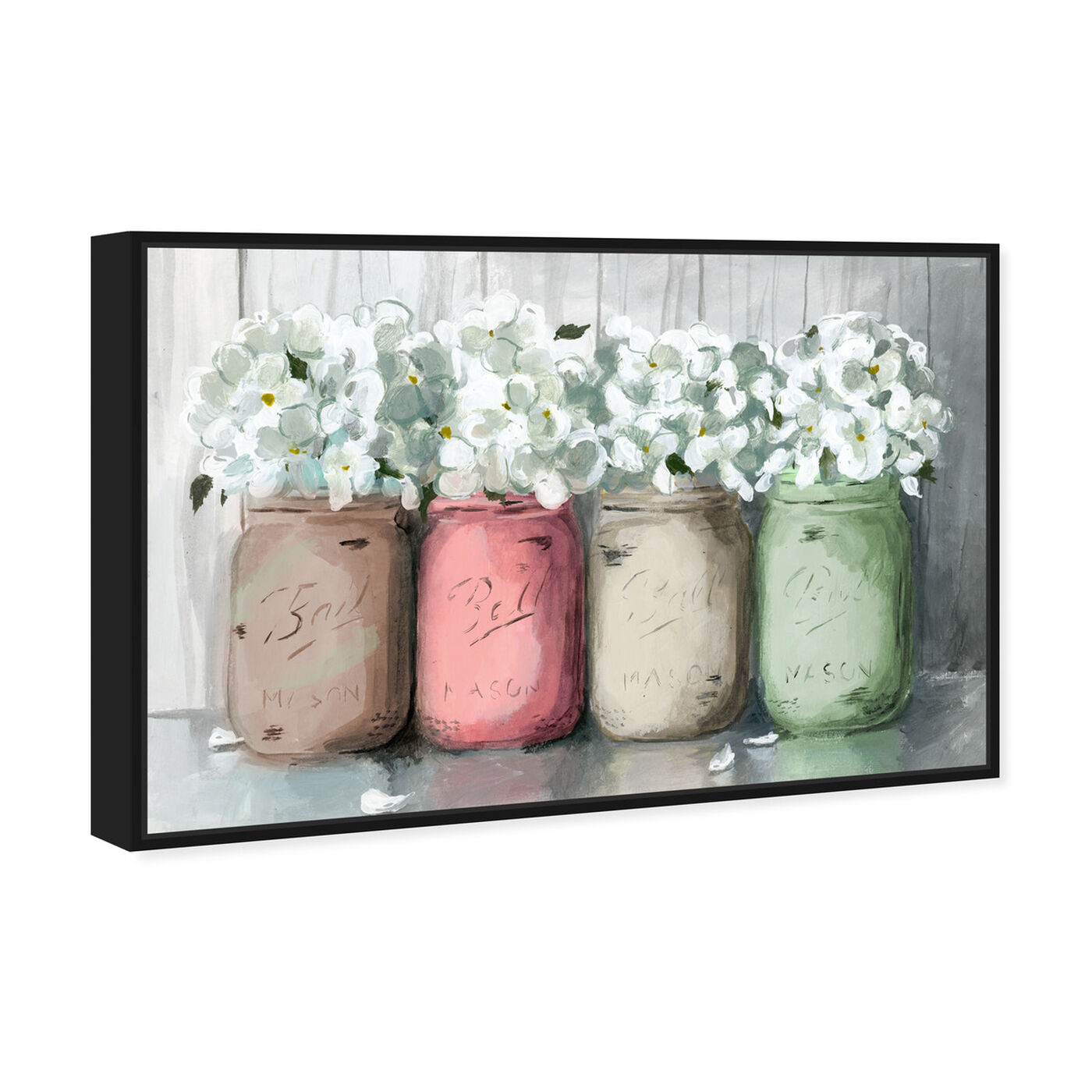 Angled view of Mason Jar Muted featuring floral and botanical and florals art.