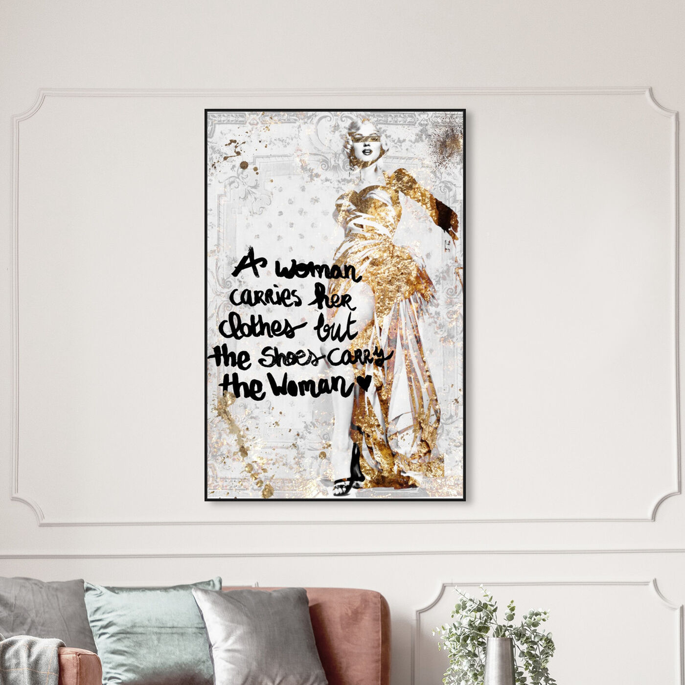 Hanging view of The Shoe Carries The Woman featuring typography and quotes and empowered women quotes and sayings art.