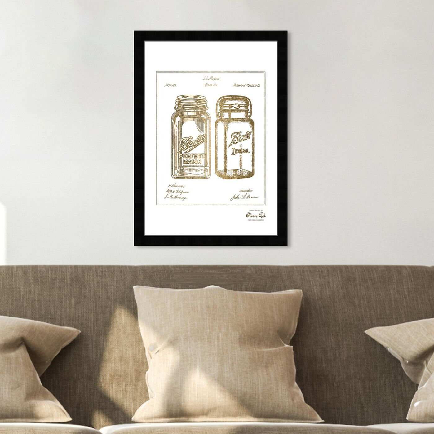 Hanging view of Mason Jar - Adapted 1853 - Noir Gold featuring food and cuisine and kitchen art.
