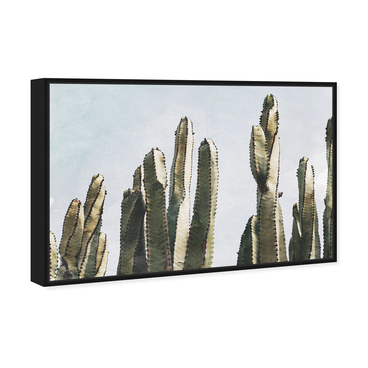Angled view of Muted Cactus featuring floral and botanical and botanicals art.