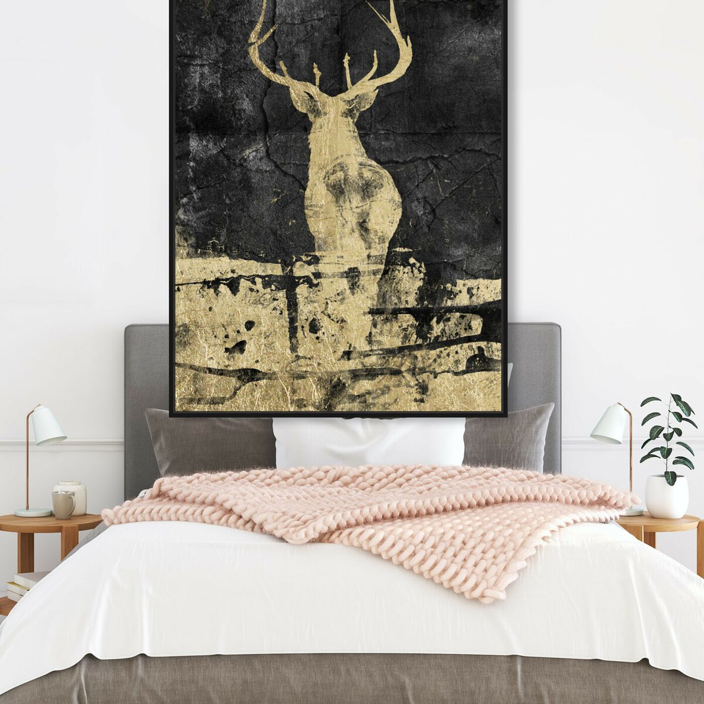Hanging view of Gold Stag I featuring animals and zoo and wild animals art.