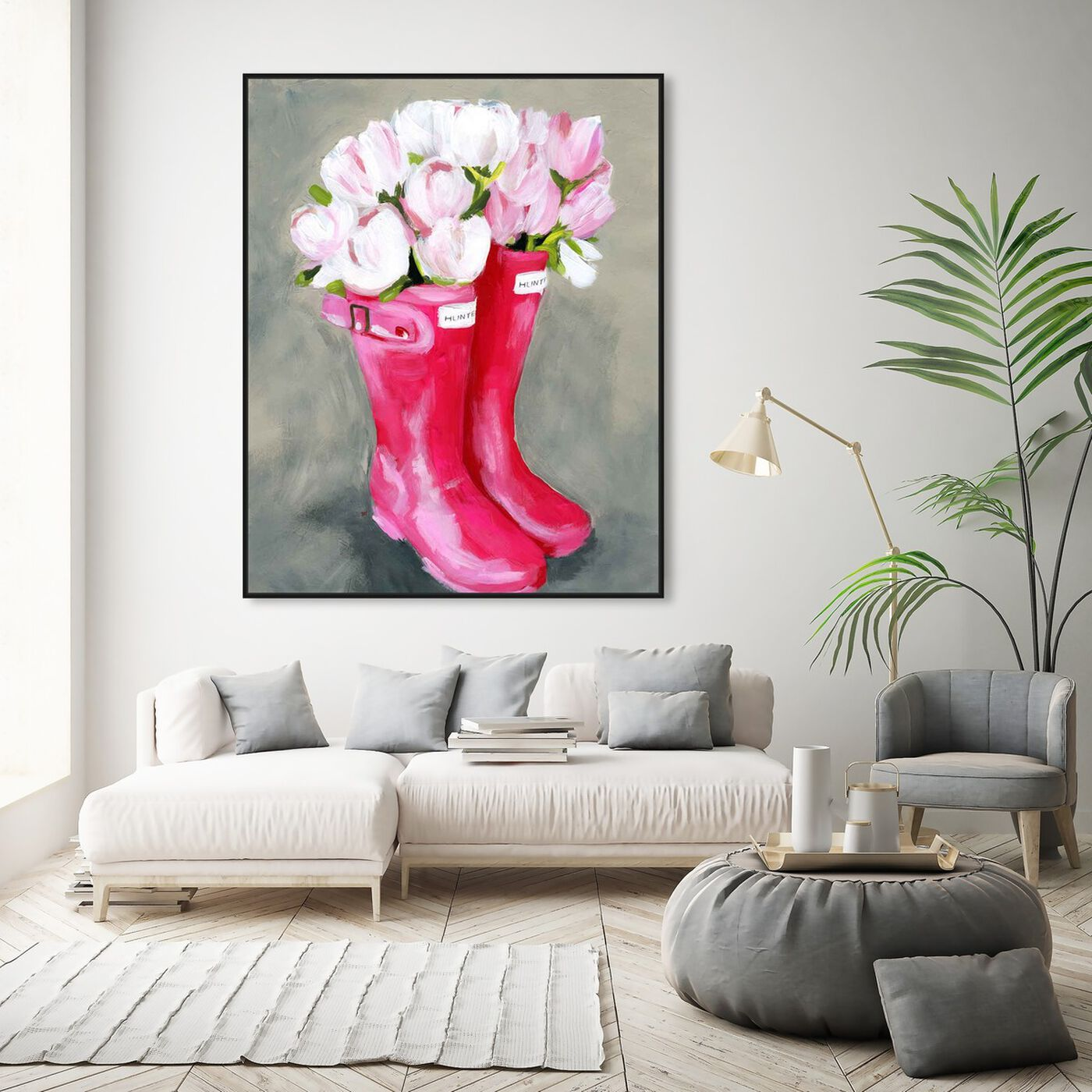 Hanging view of Tulips & Rainboots featuring floral and botanical and florals art.