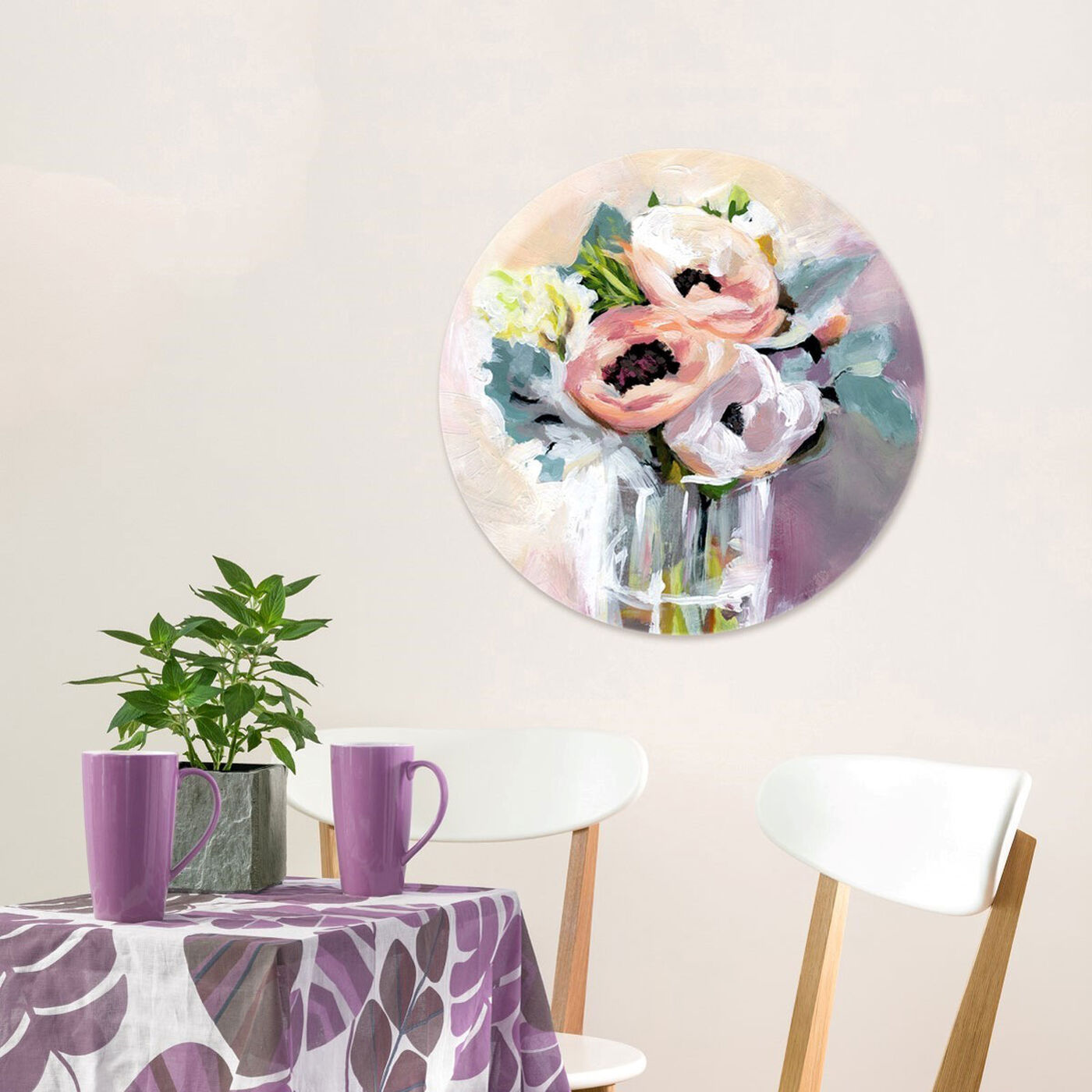 Hanging view of Natura Mora Round featuring floral and botanical and florals art.
