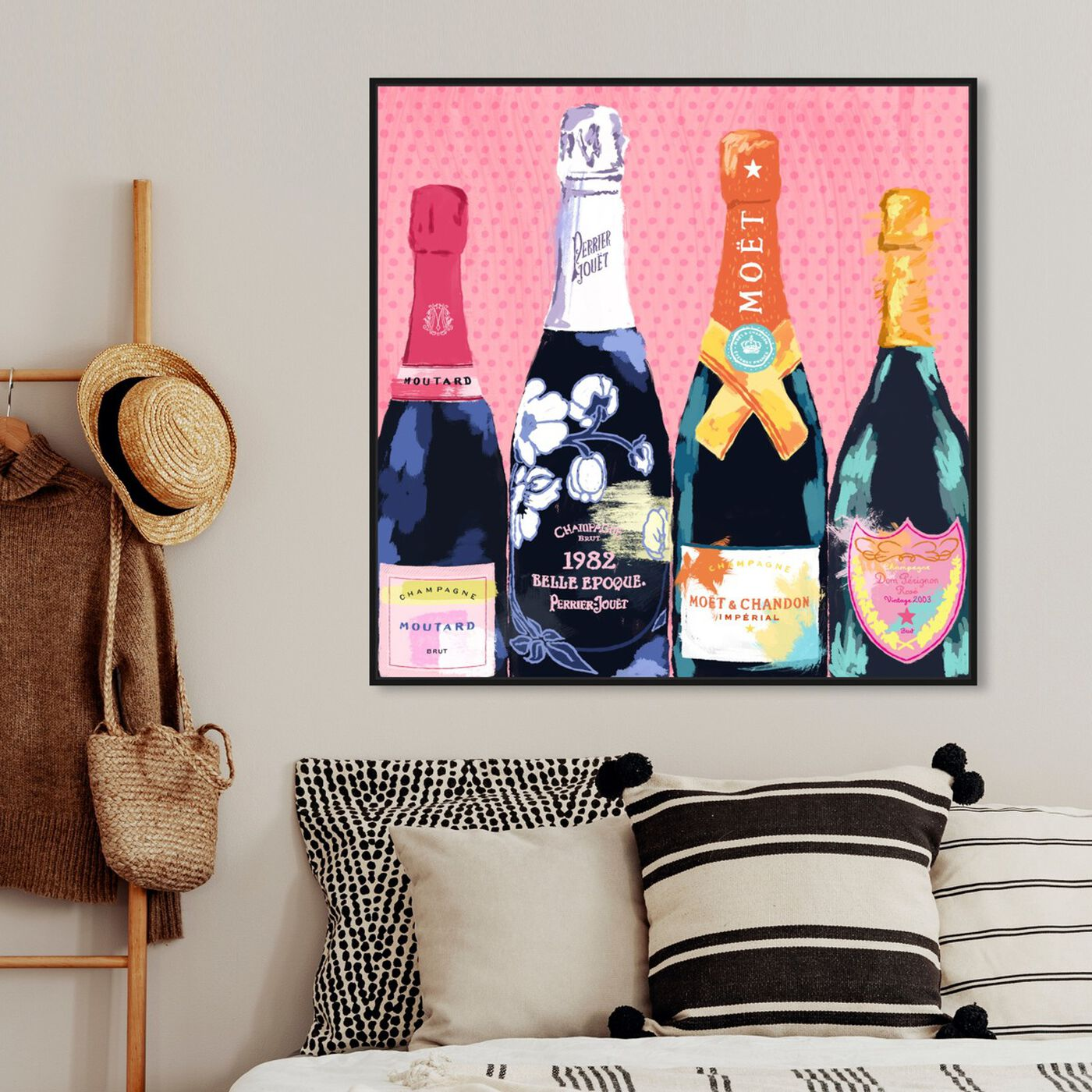 Hanging view of Pass The Bottle! featuring drinks and spirits and champagne art.