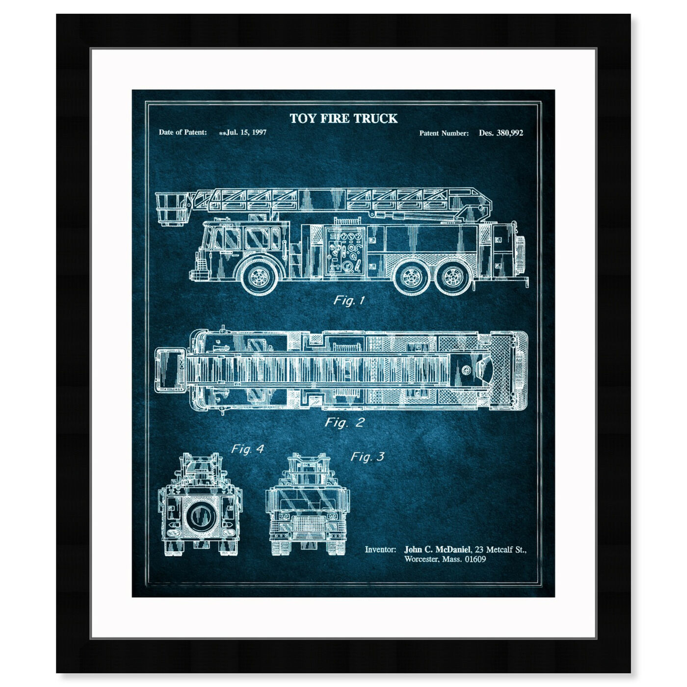 Front view of Toy Fire Truck 1997 - Blue featuring entertainment and hobbies and toys art.