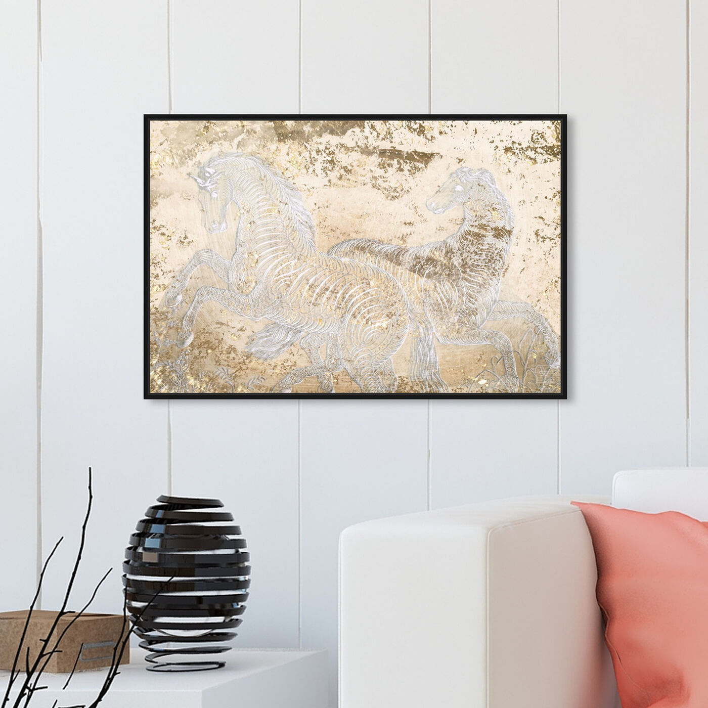 Hanging view of Gold Equestrian featuring animals and farm animals art.
