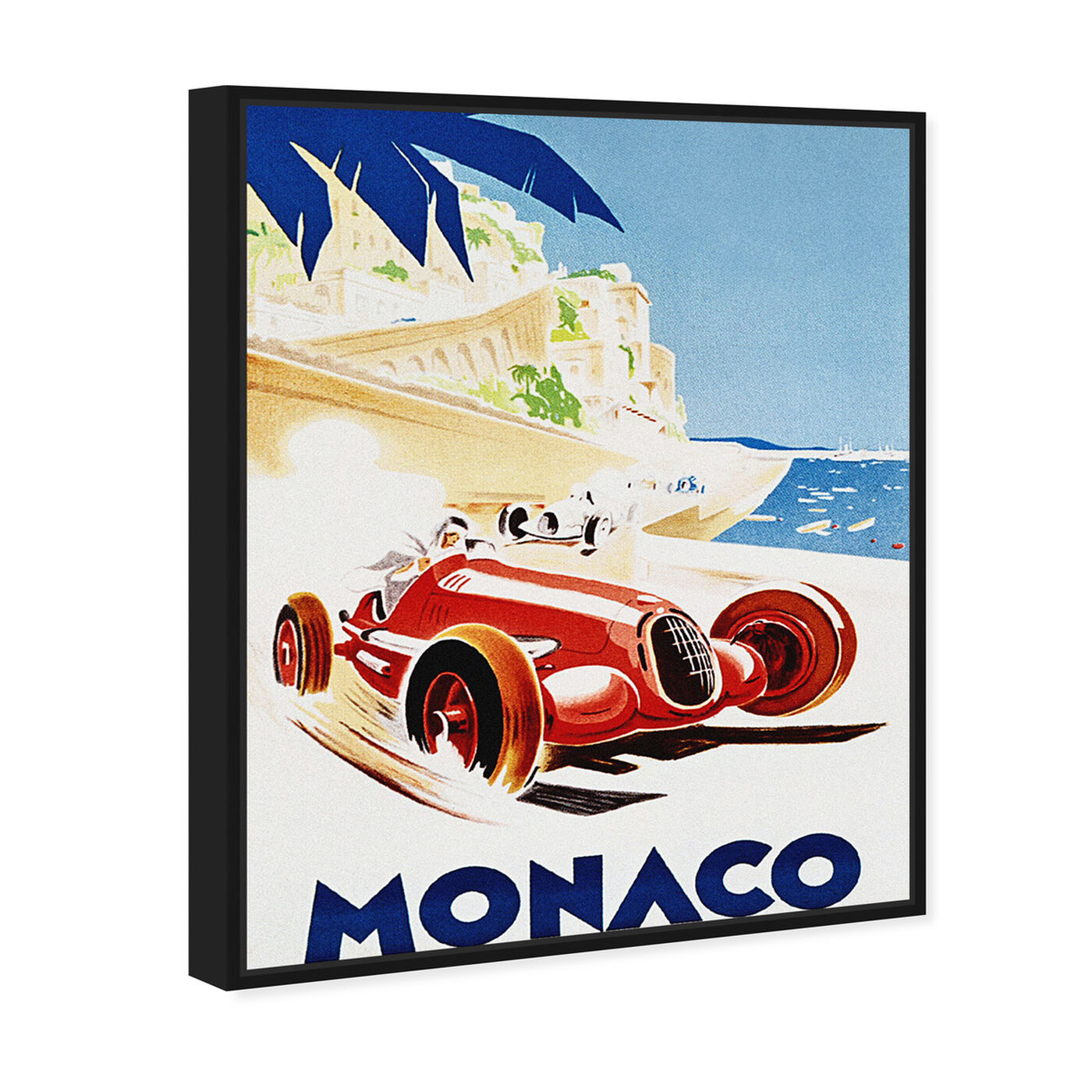 Angled view of Monaco Grand Prix featuring advertising and posters art.