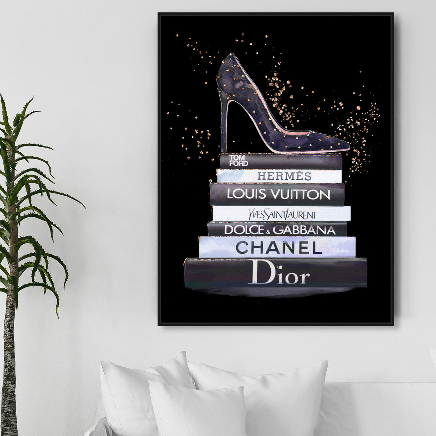 Hanging view of Glam Shoe at night featuring fashion and glam and shoes art.