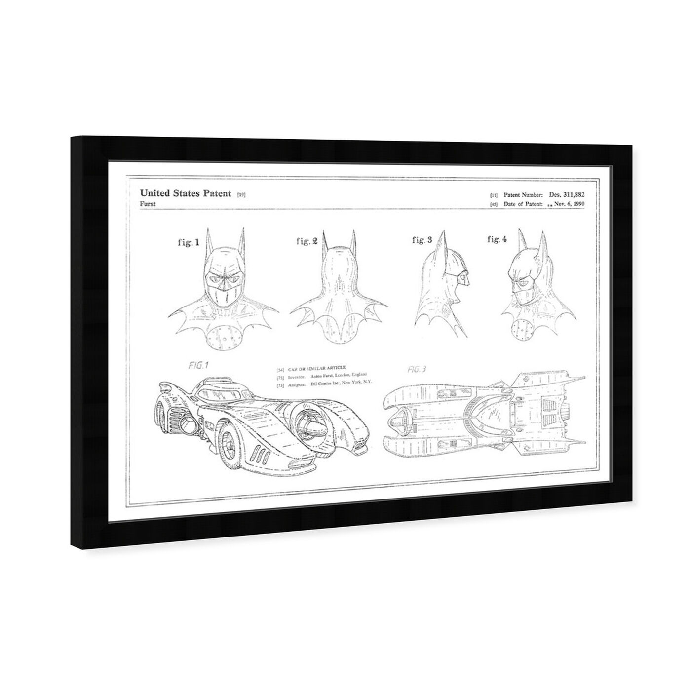 Angled view of Batmobile and Accessories 19909, Silver Foil featuring movies and tv and movies art.