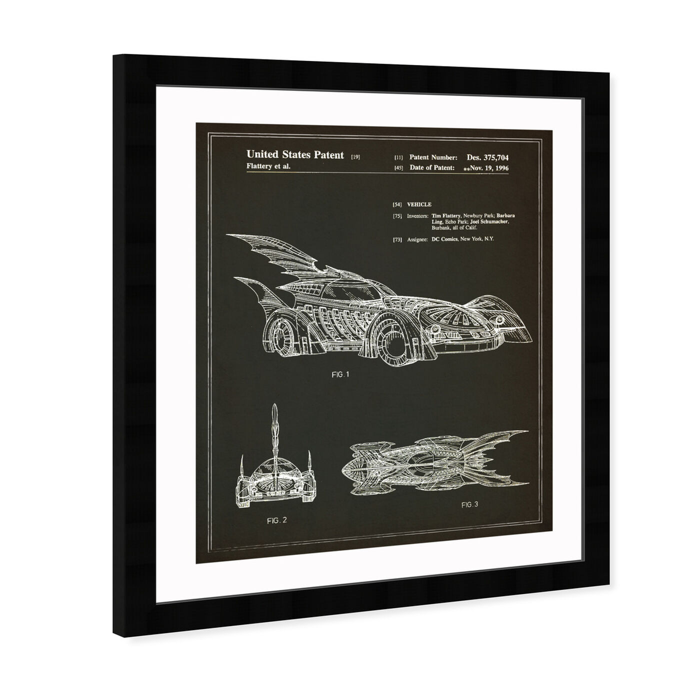 Angled view of Batmobile 1996 I featuring symbols and objects and toys art.