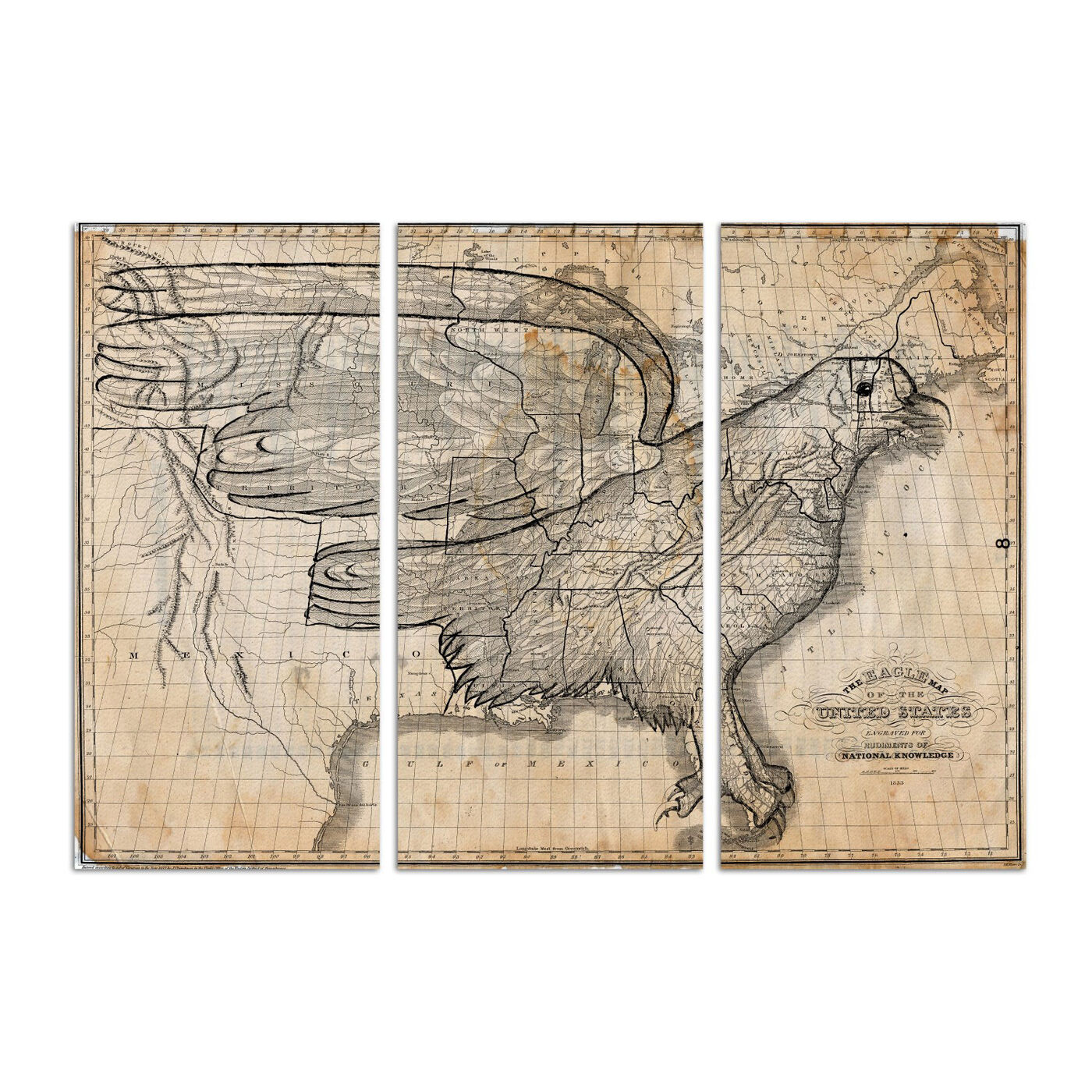 Eagle Map of the World 1833 Triptych