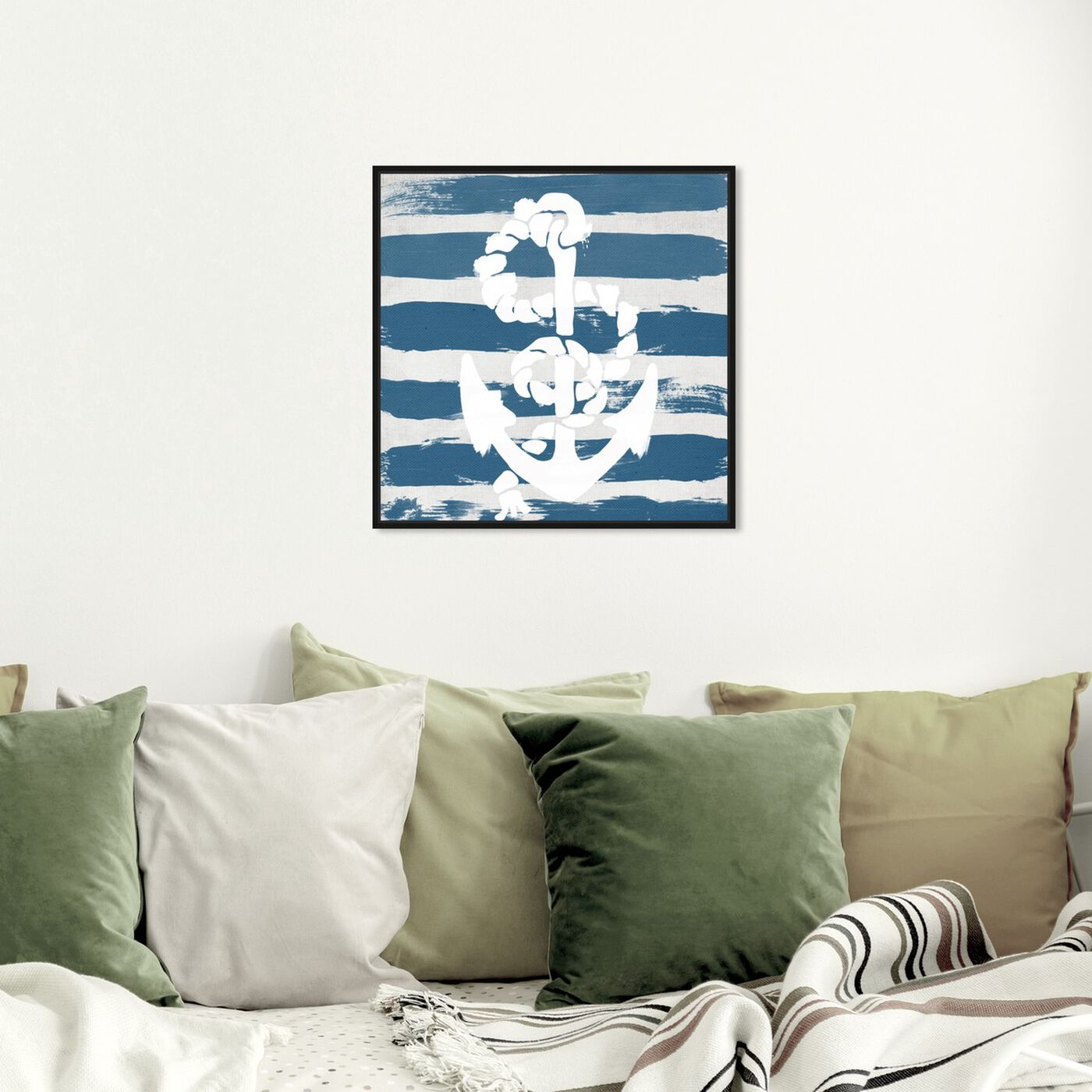 Hanging view of Anchored to the Ocean Blue featuring nautical and coastal and nautical watercrafts art.