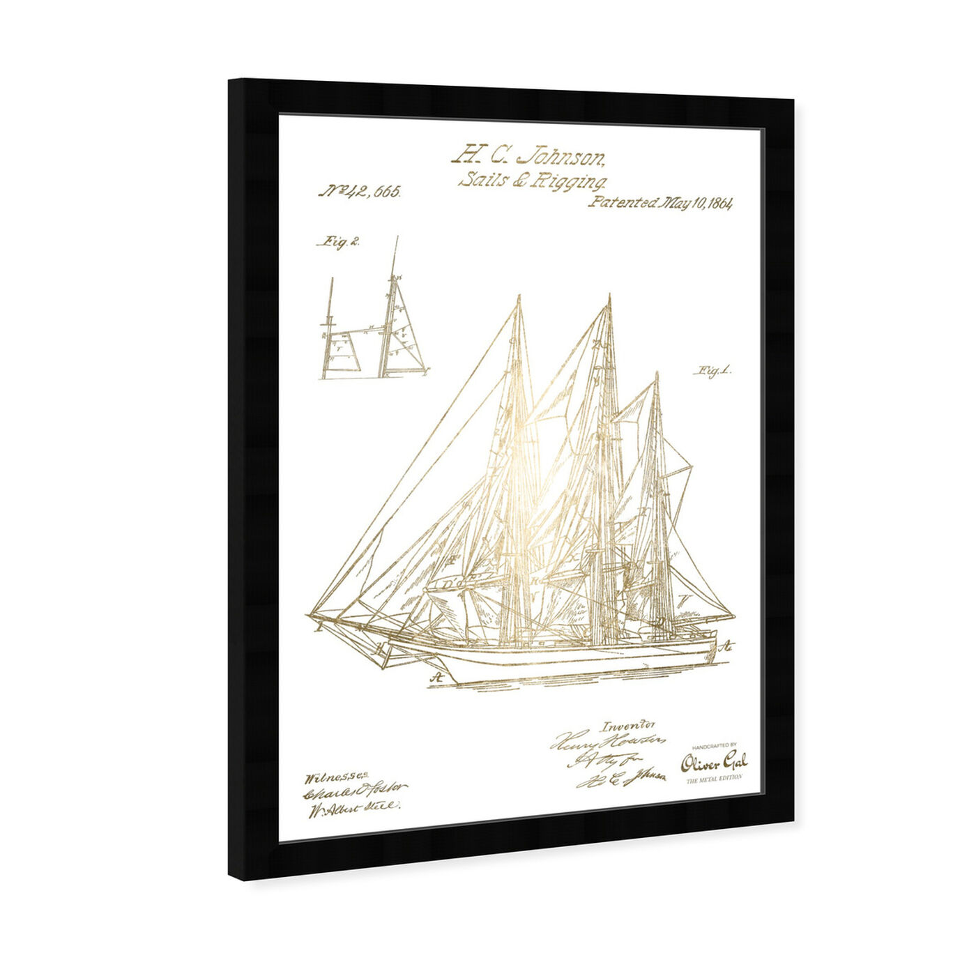 Angled view of Sail And Rigging 1864 II featuring transportation and boats and yachts art.