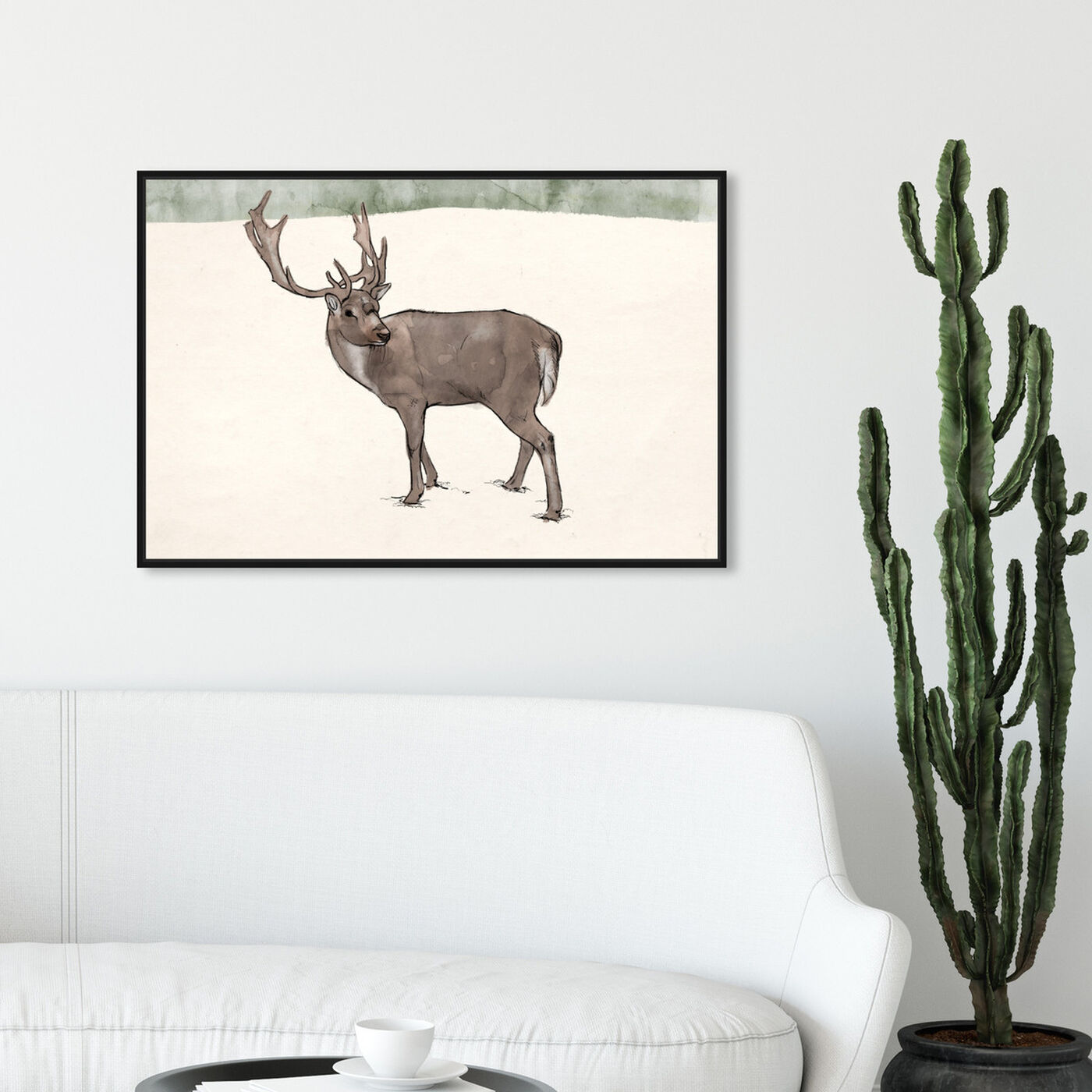 Hanging view of Lone Reindeer featuring animals and zoo and wild animals art.
