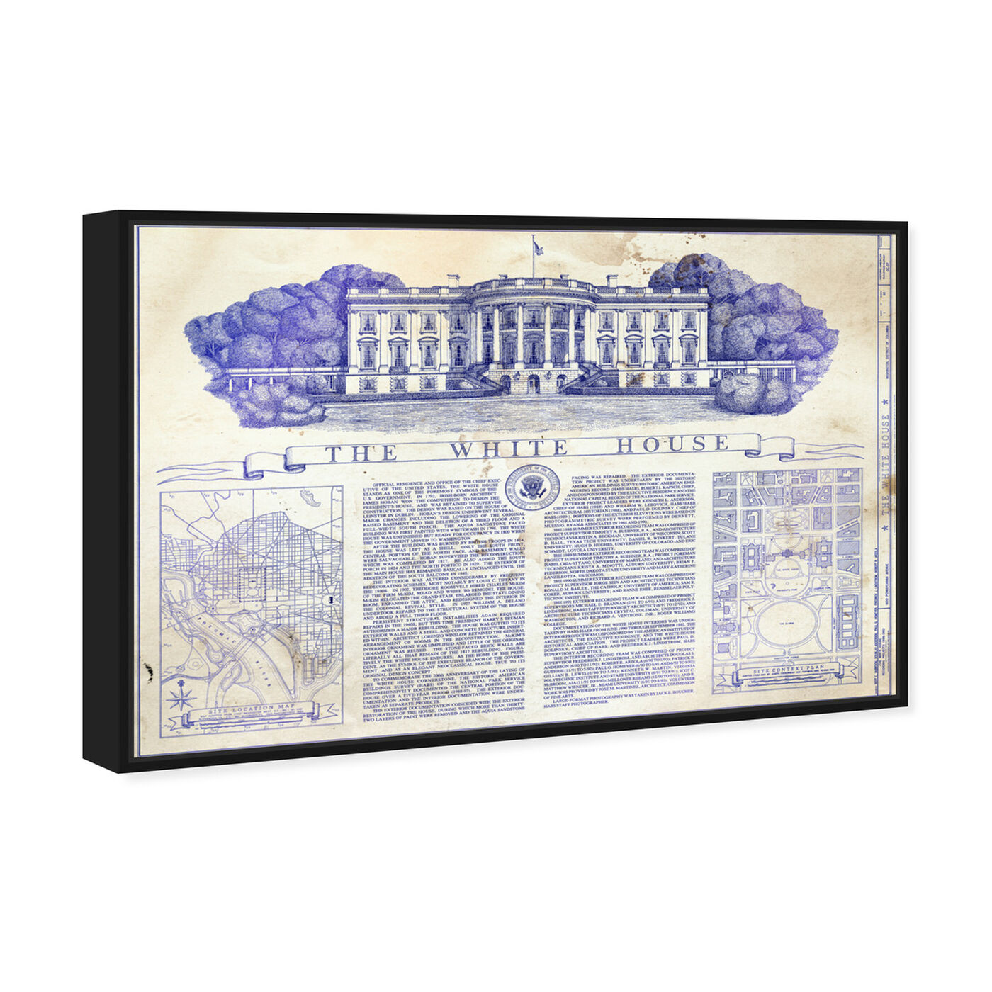 Angled view of The White House Blueprint featuring architecture and buildings and united states buildings art.
