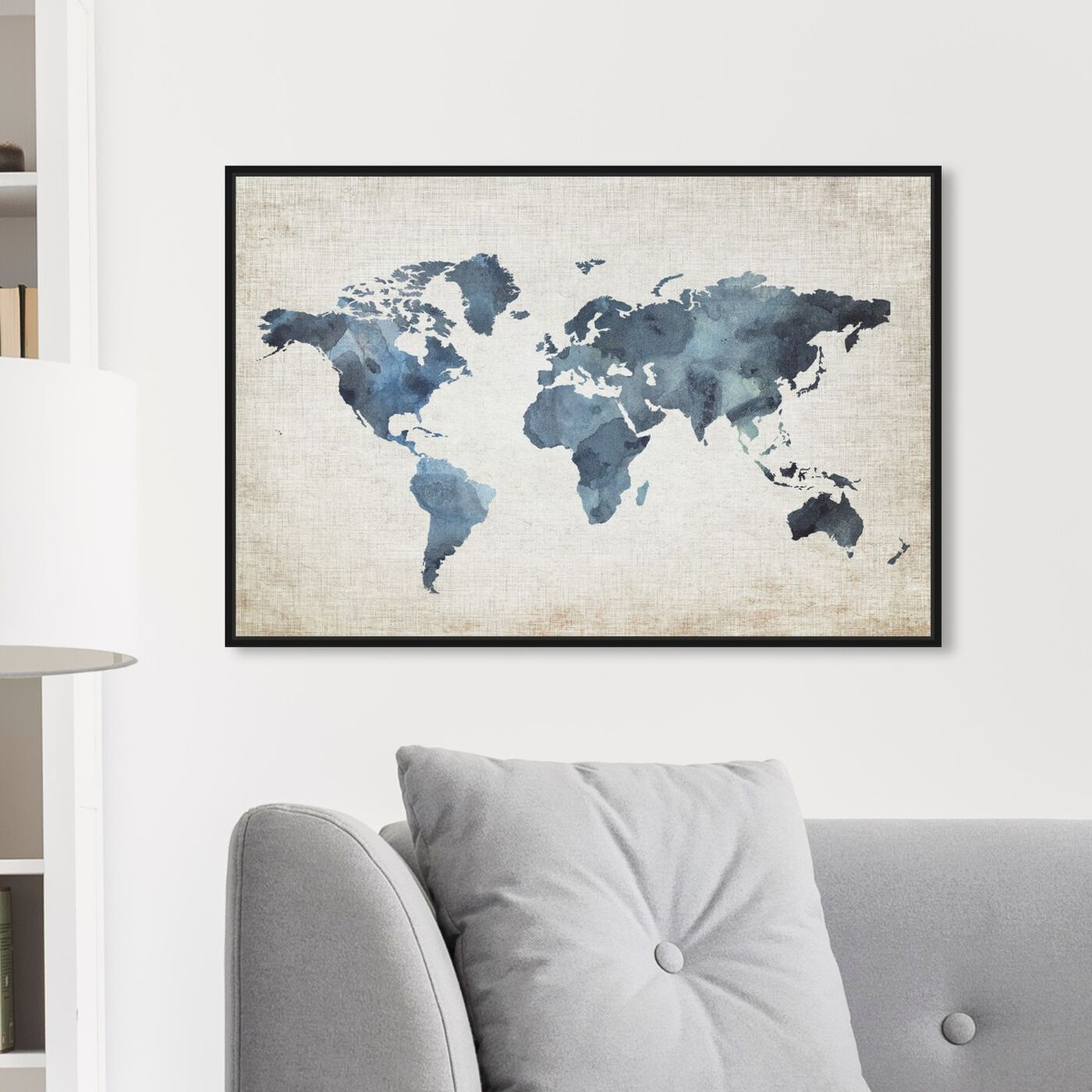 Hanging view of Mapamundi New Worlds v2 featuring maps and flags and world maps art.