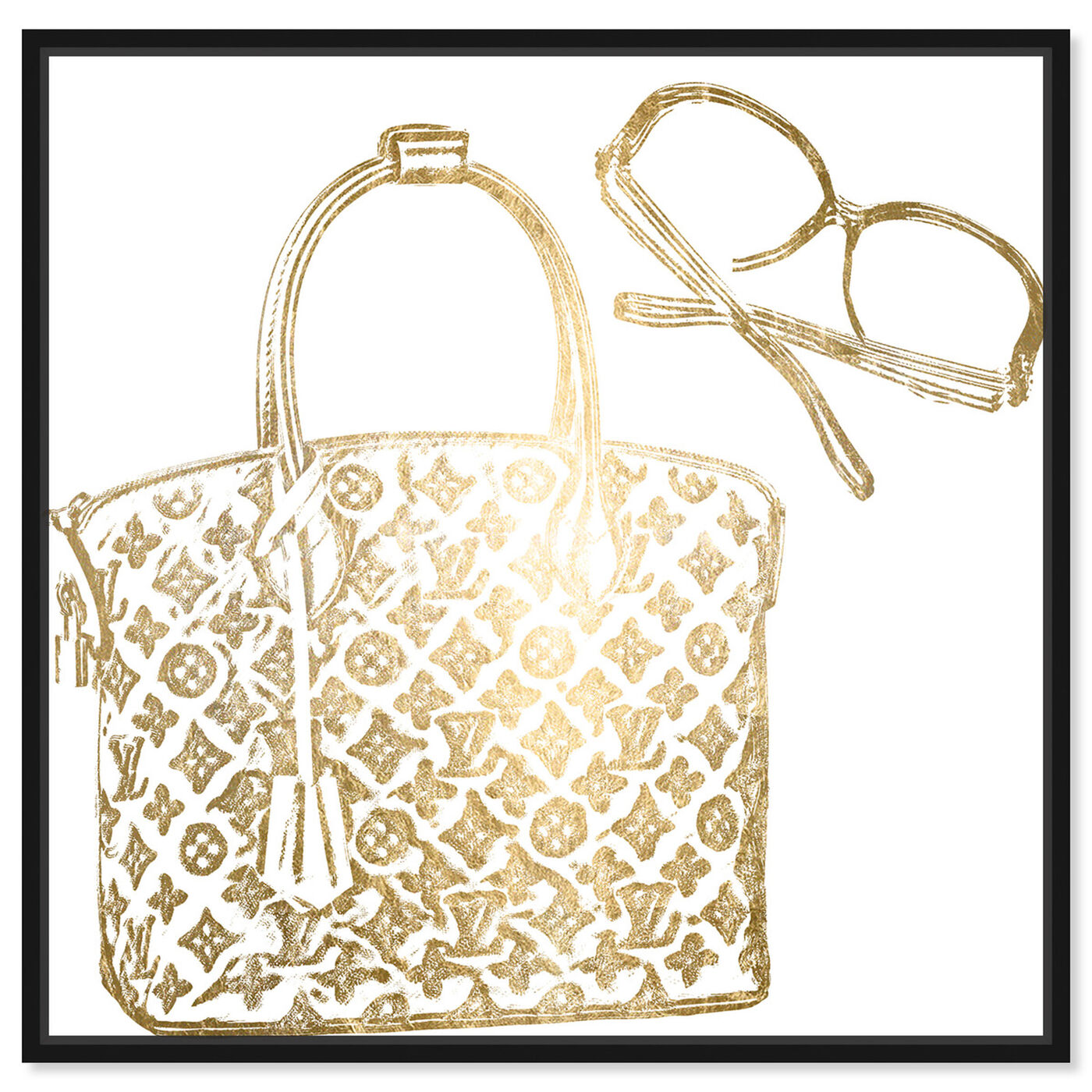 Front view of Luxe Musts Gold Foil featuring fashion and glam and handbags art.