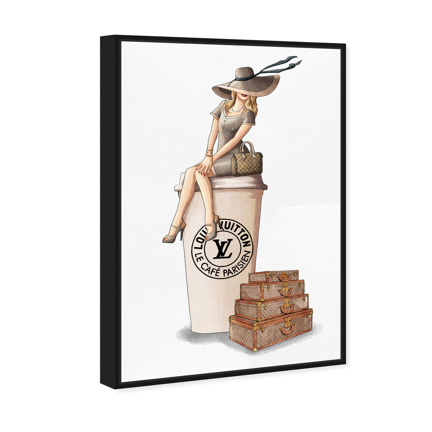 Angled view of Cafe au Lait Paris featuring fashion and glam and handbags art.