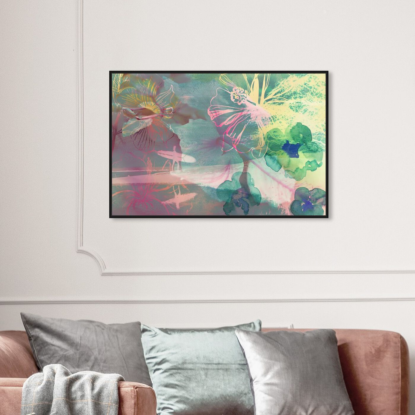 Hanging view of Surfer Girl I featuring abstract and flowers art.