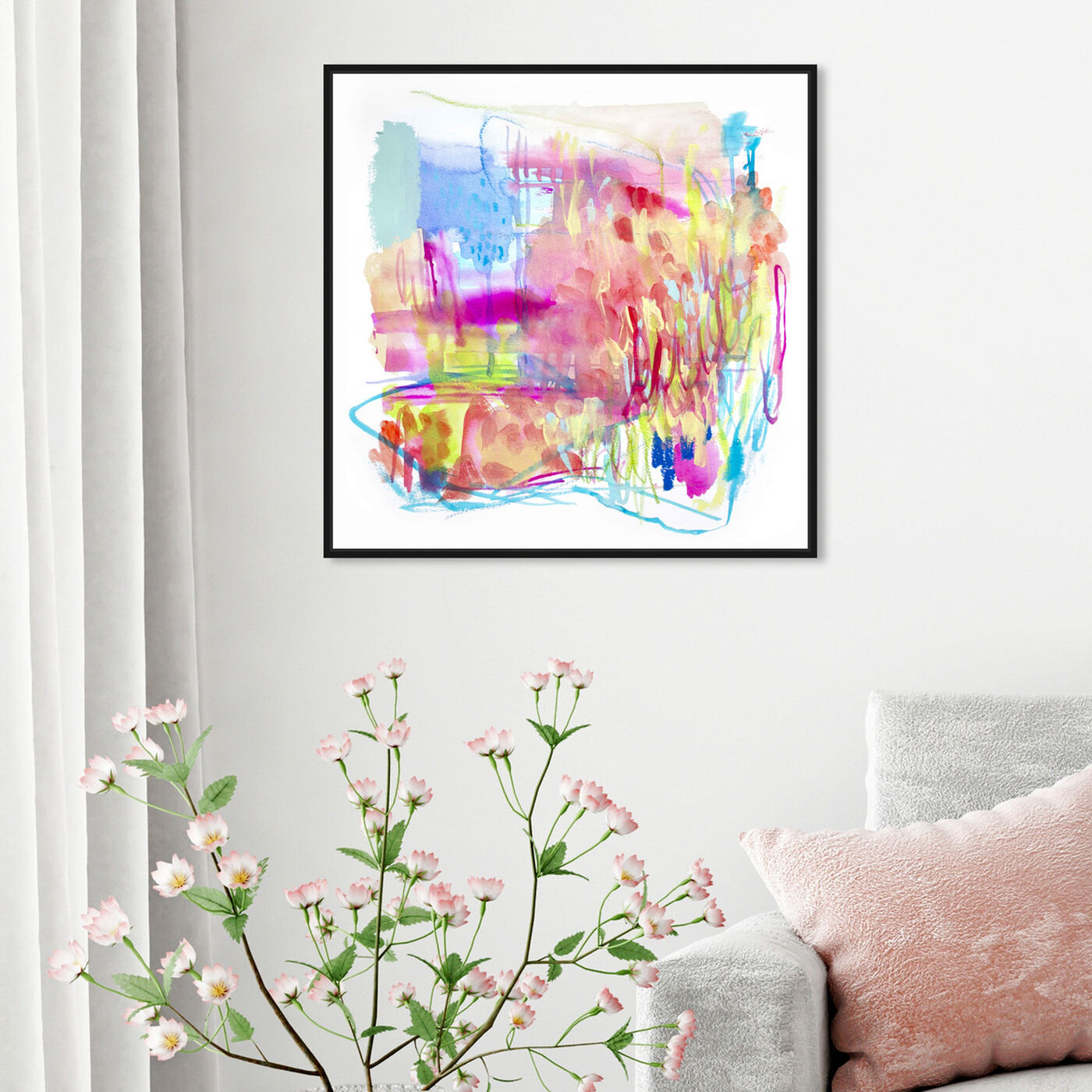 Hanging view of Fireworks at the Lake featuring abstract and watercolor art.