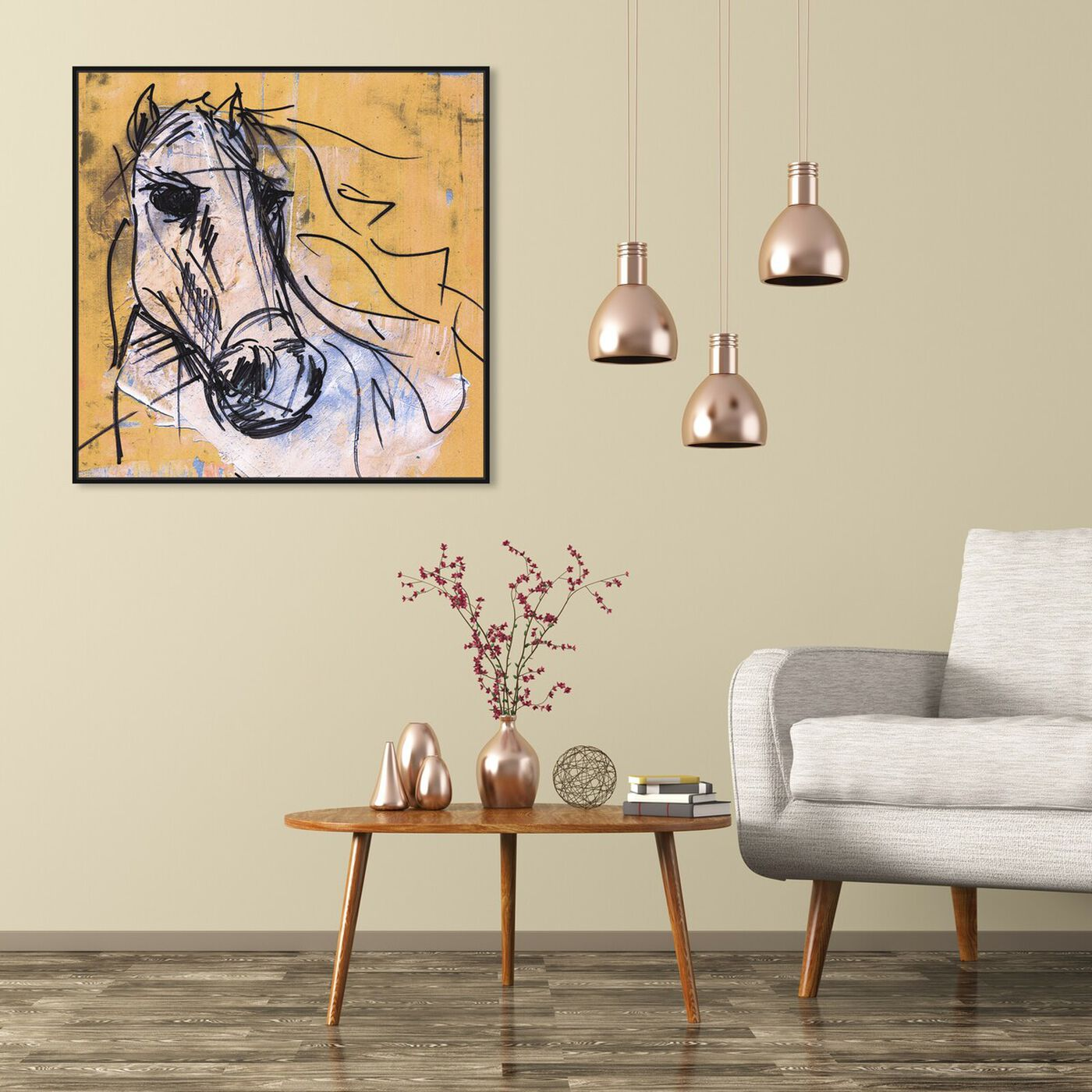 Hanging view of Horse Study By Carson Kressley featuring animals and farm animals art.
