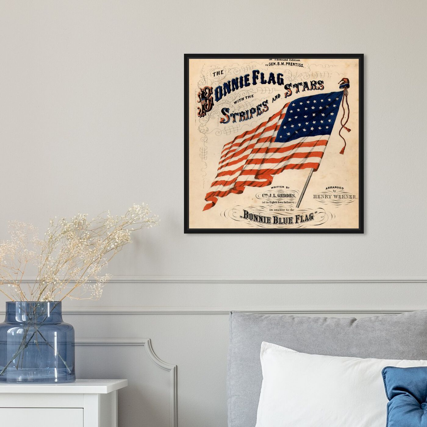 Hanging view of Bonnie Flag featuring americana and patriotic and us flags art.