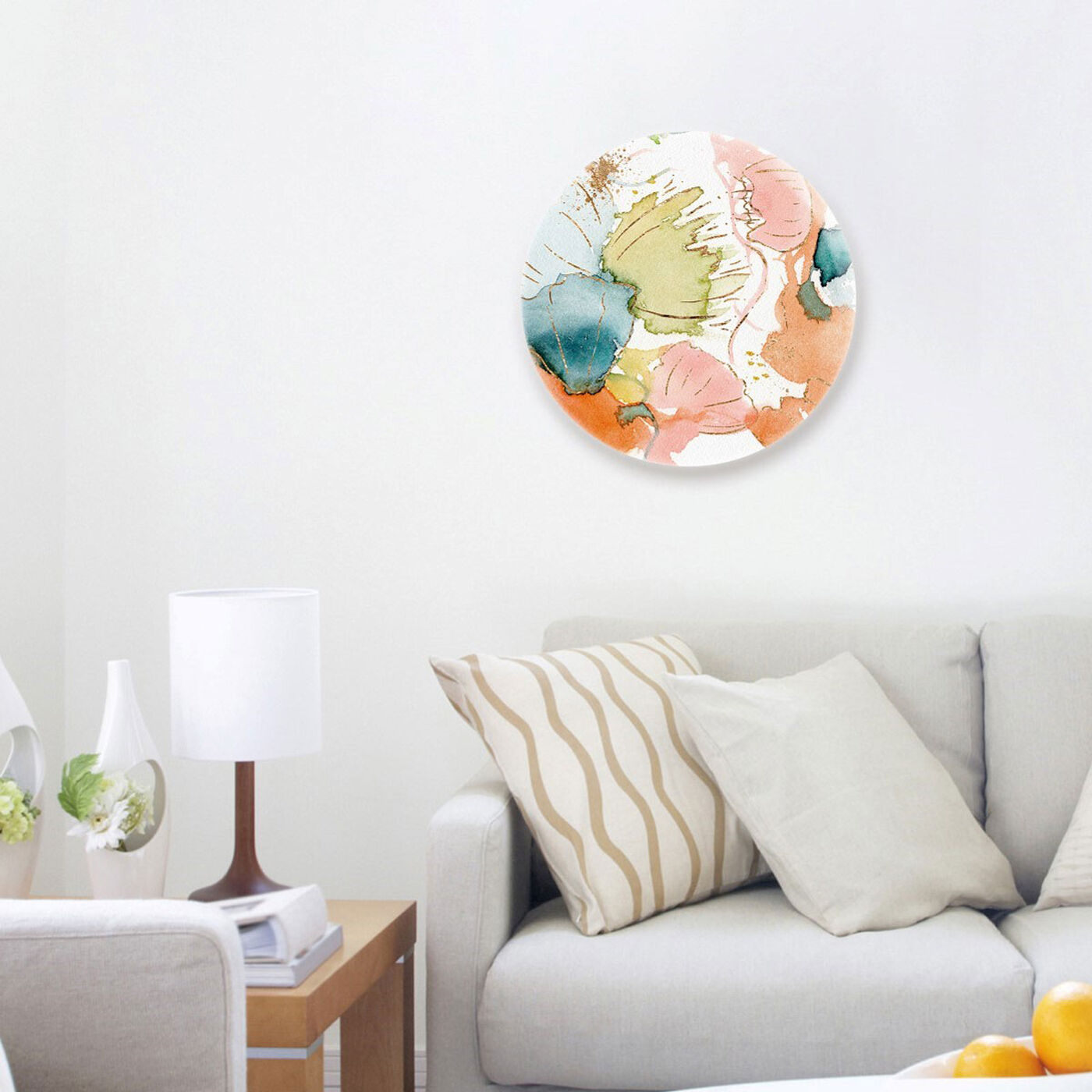 Hanging view of My Wild Garden Circle featuring abstract and watercolor art.
