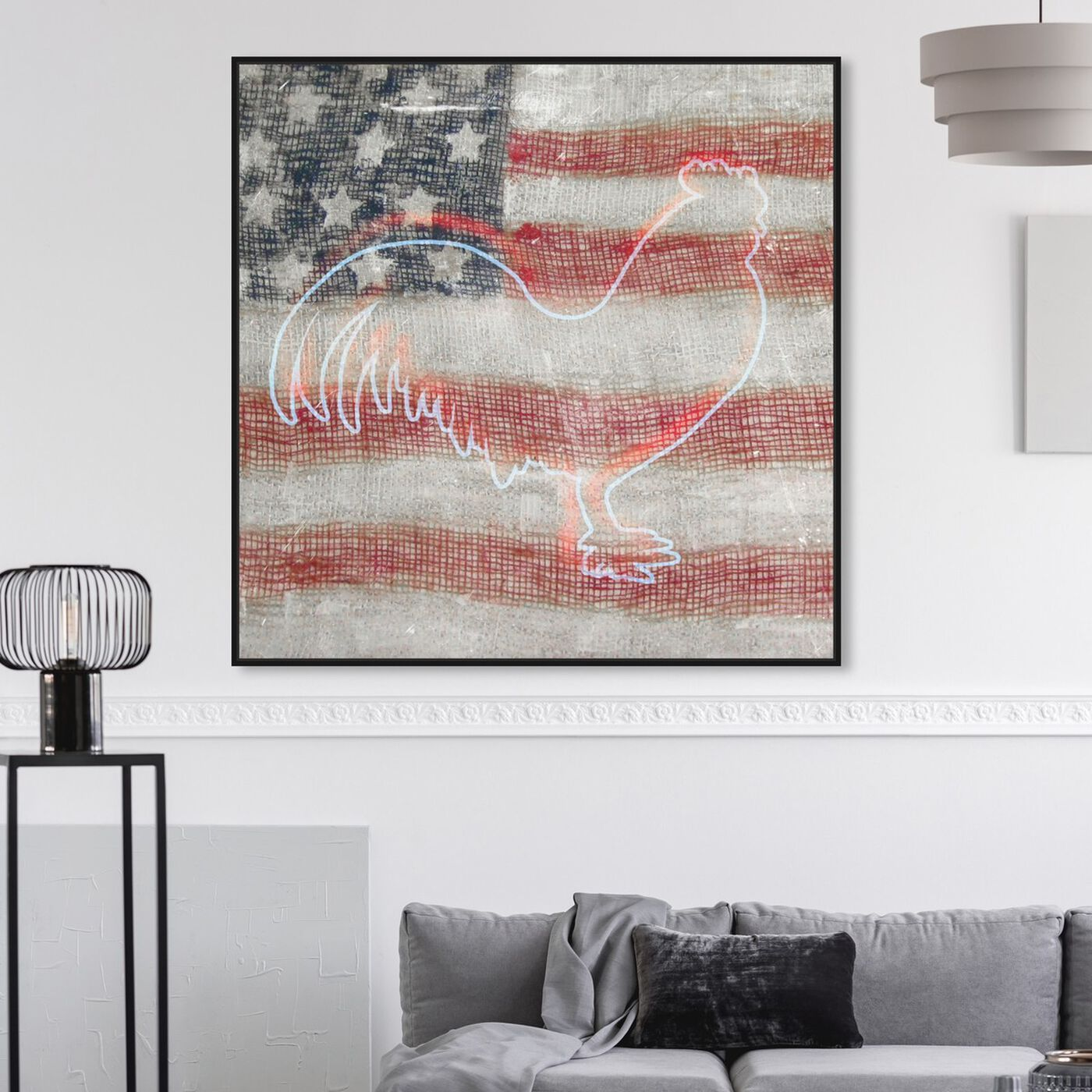 Hanging view of State Rooster featuring americana and patriotic and us flags art.