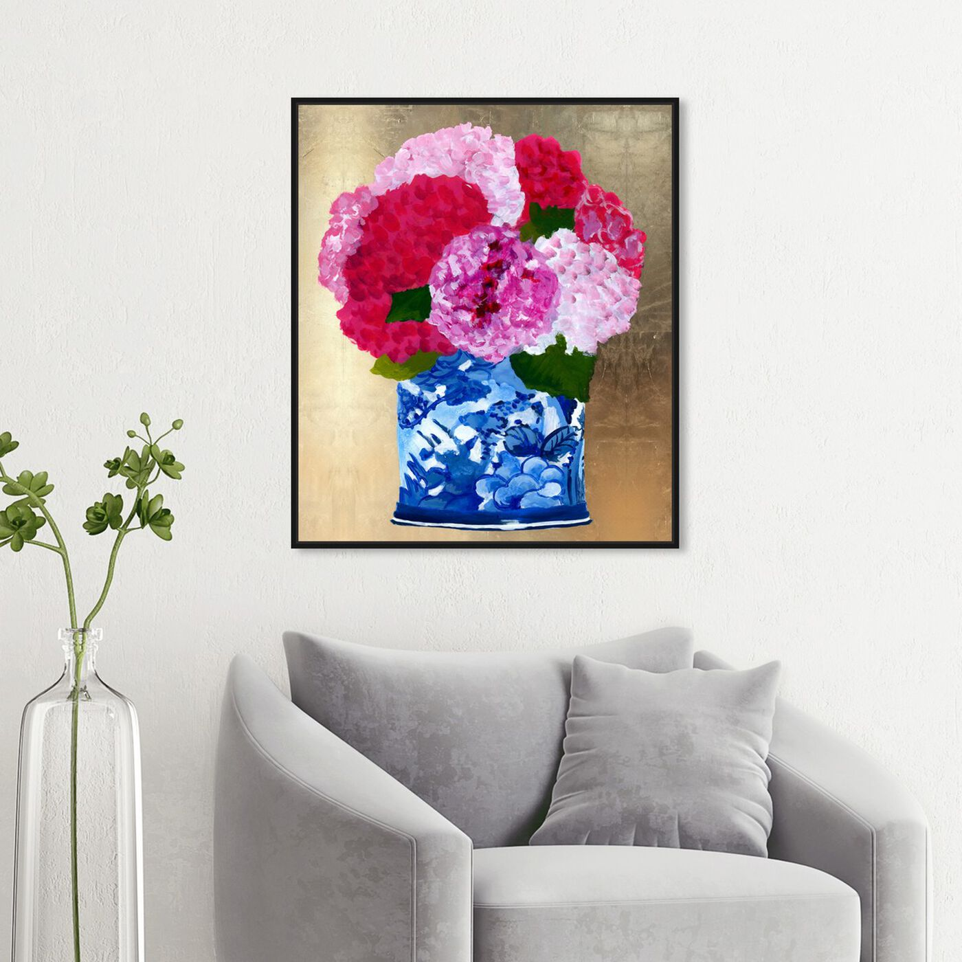 Hanging view of Julianne Taylor - Hyndrangeas Vase Gold featuring floral and botanical and florals art.