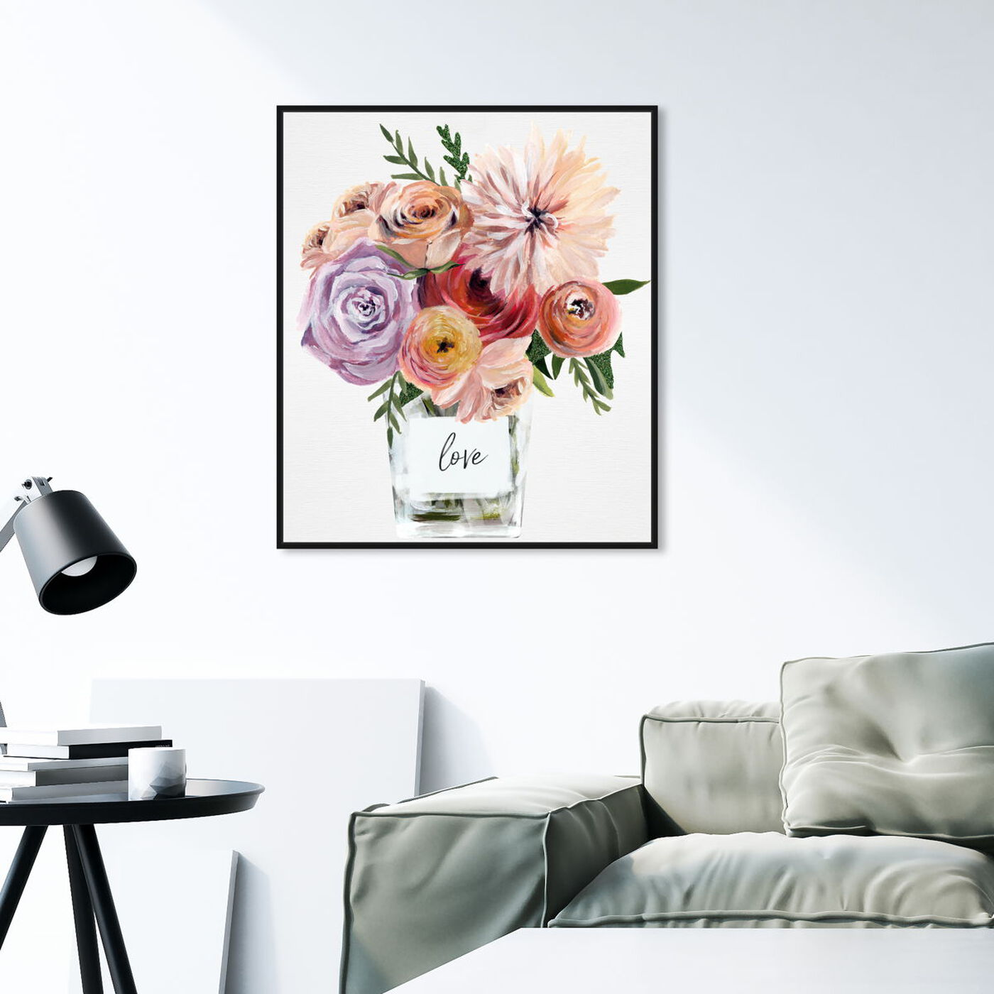 Hanging view of Love Me Some Florals featuring floral and botanical and florals art.