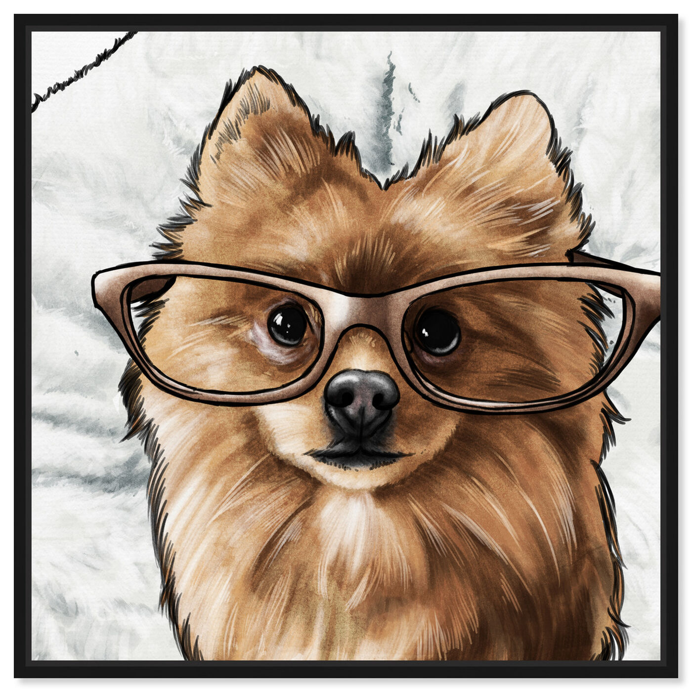 Front view of Glasses and Fluff II featuring animals and dogs and puppies art.