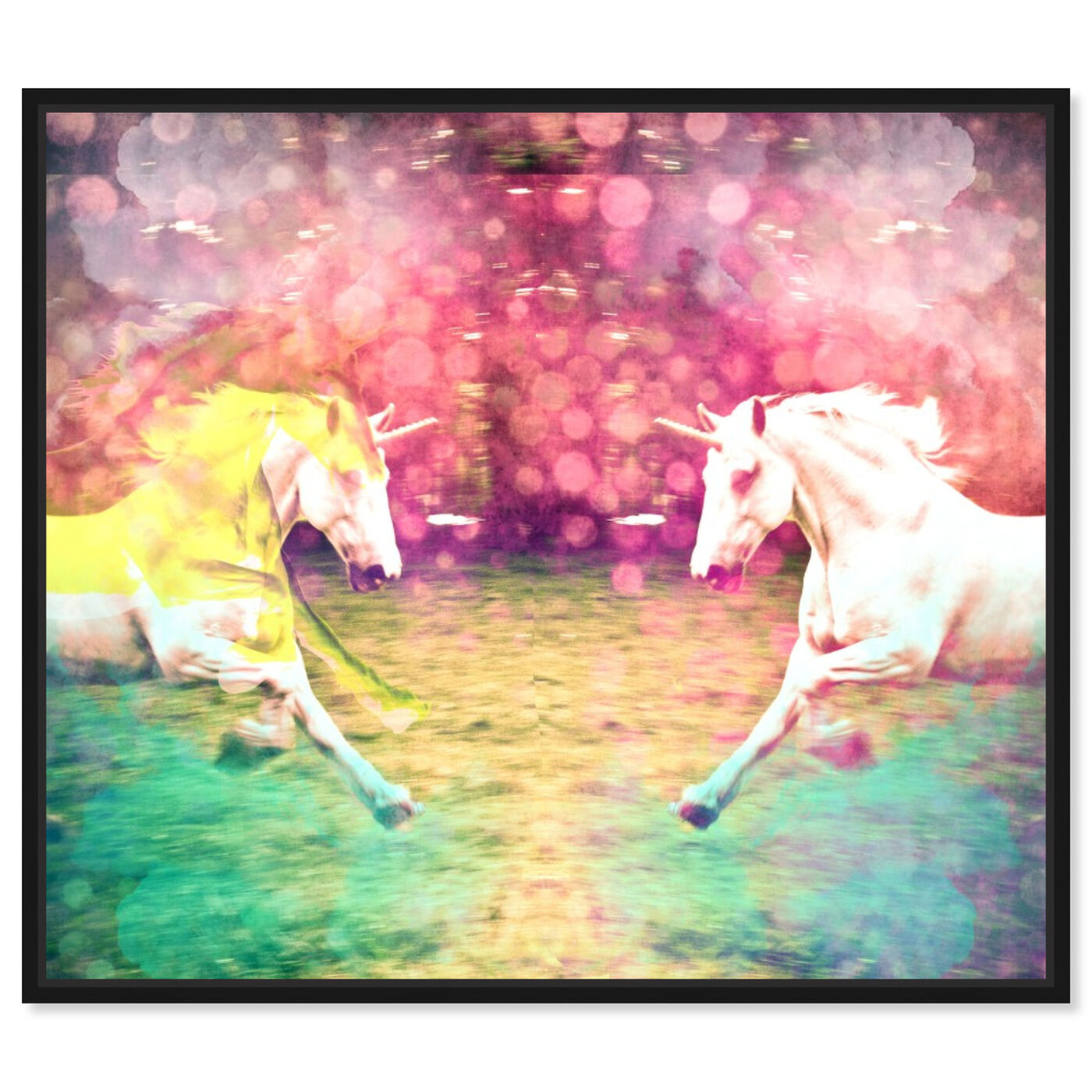 Front view of Unicorns Dusk featuring fantasy and sci-fi and fantasy creatures art.
