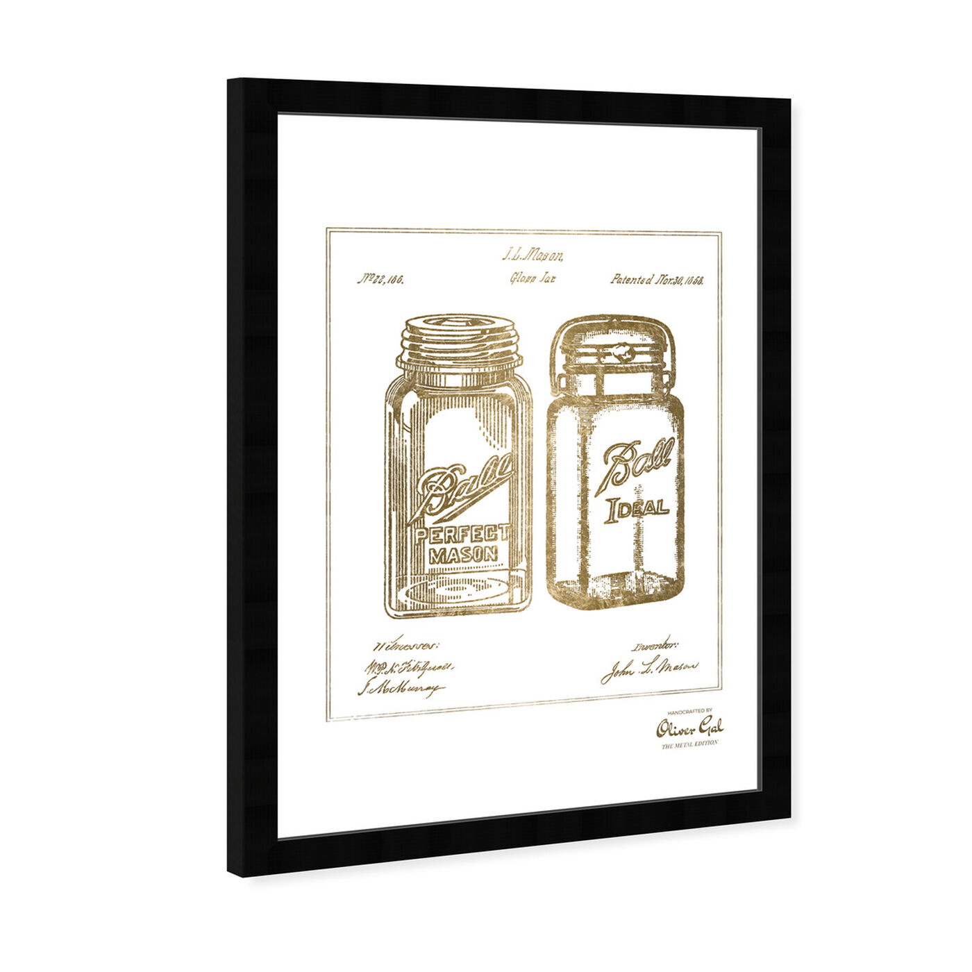 Angled view of Mason Jar - Adapted 1853 - Noir Gold featuring food and cuisine and kitchen art.