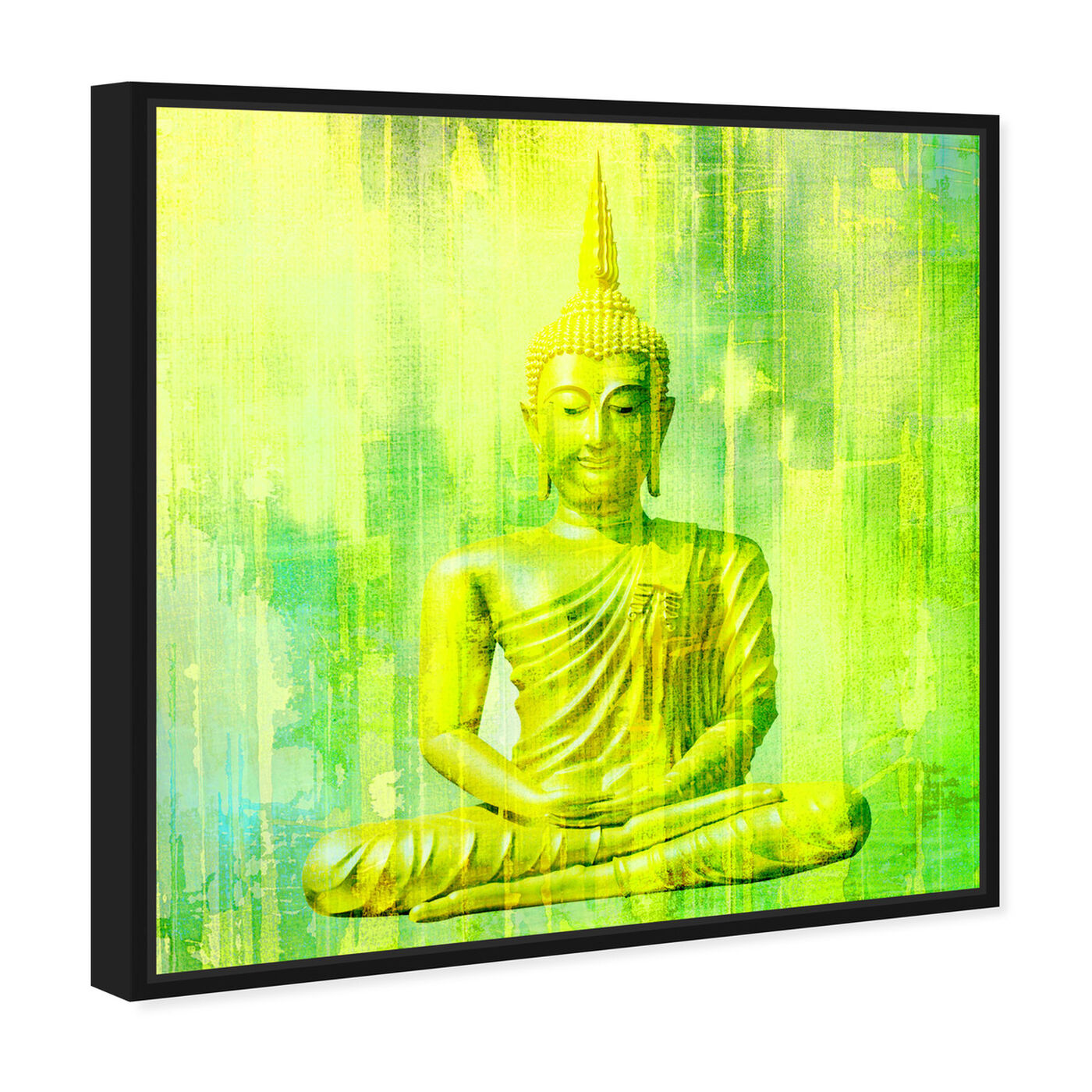 Angled view of Buddha Neon Lime featuring spiritual and religious and religion art.