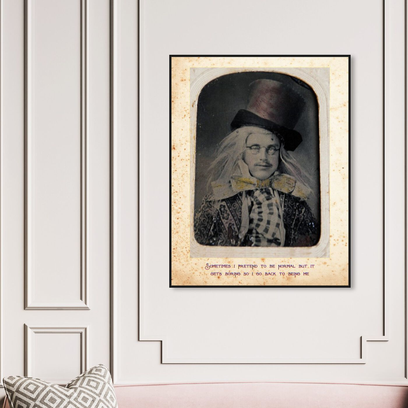 Hanging view of Mad Hatter featuring people and portraits and fictional characters art.