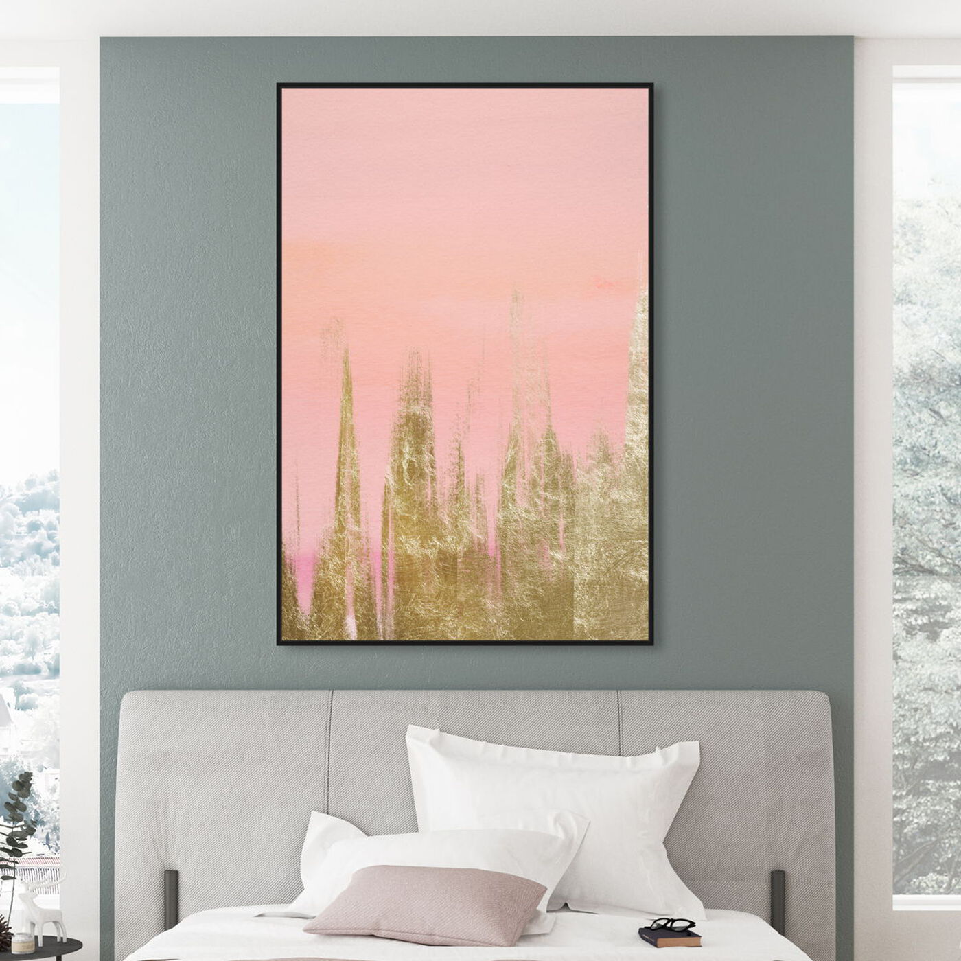 Hanging view of Blush Gold Amour featuring abstract and paint art.