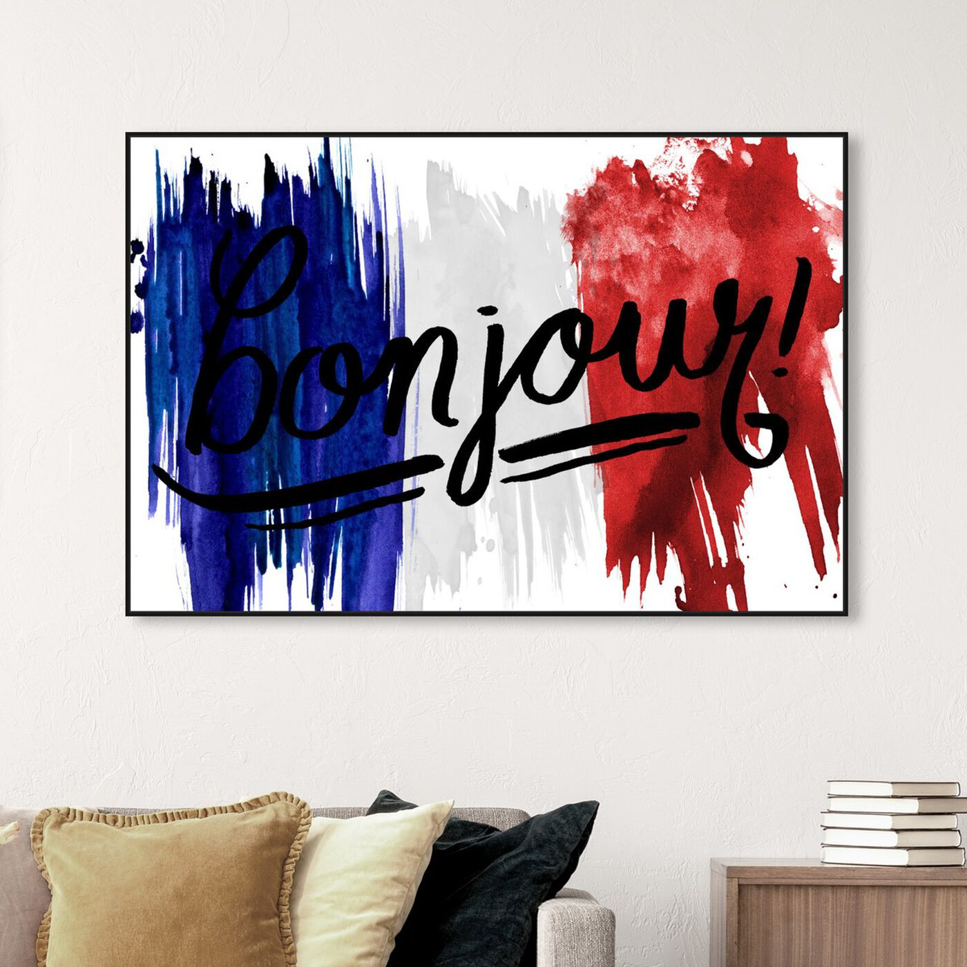 Hanging view of Bonjour Paris featuring typography and quotes and travel quotes and sayings art.