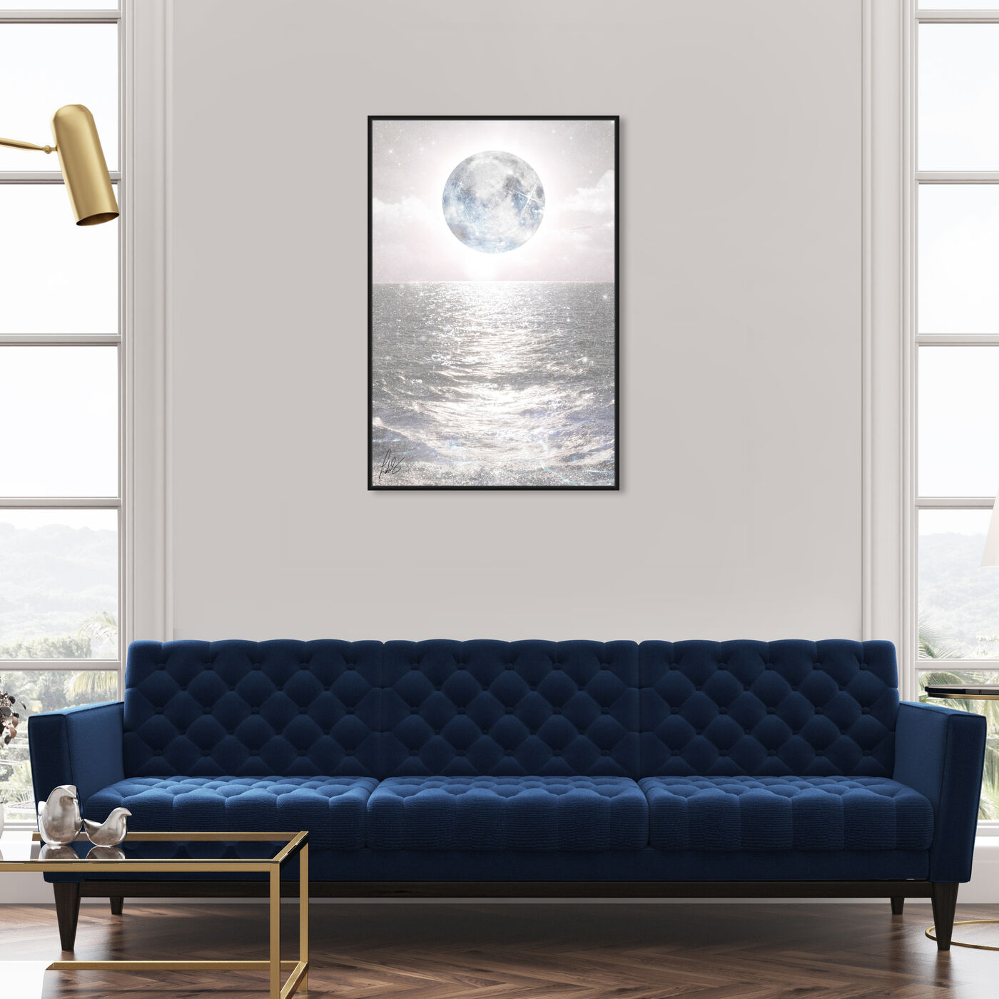 Hanging view of Mykonos Moon featuring astronomy and space and moons art.