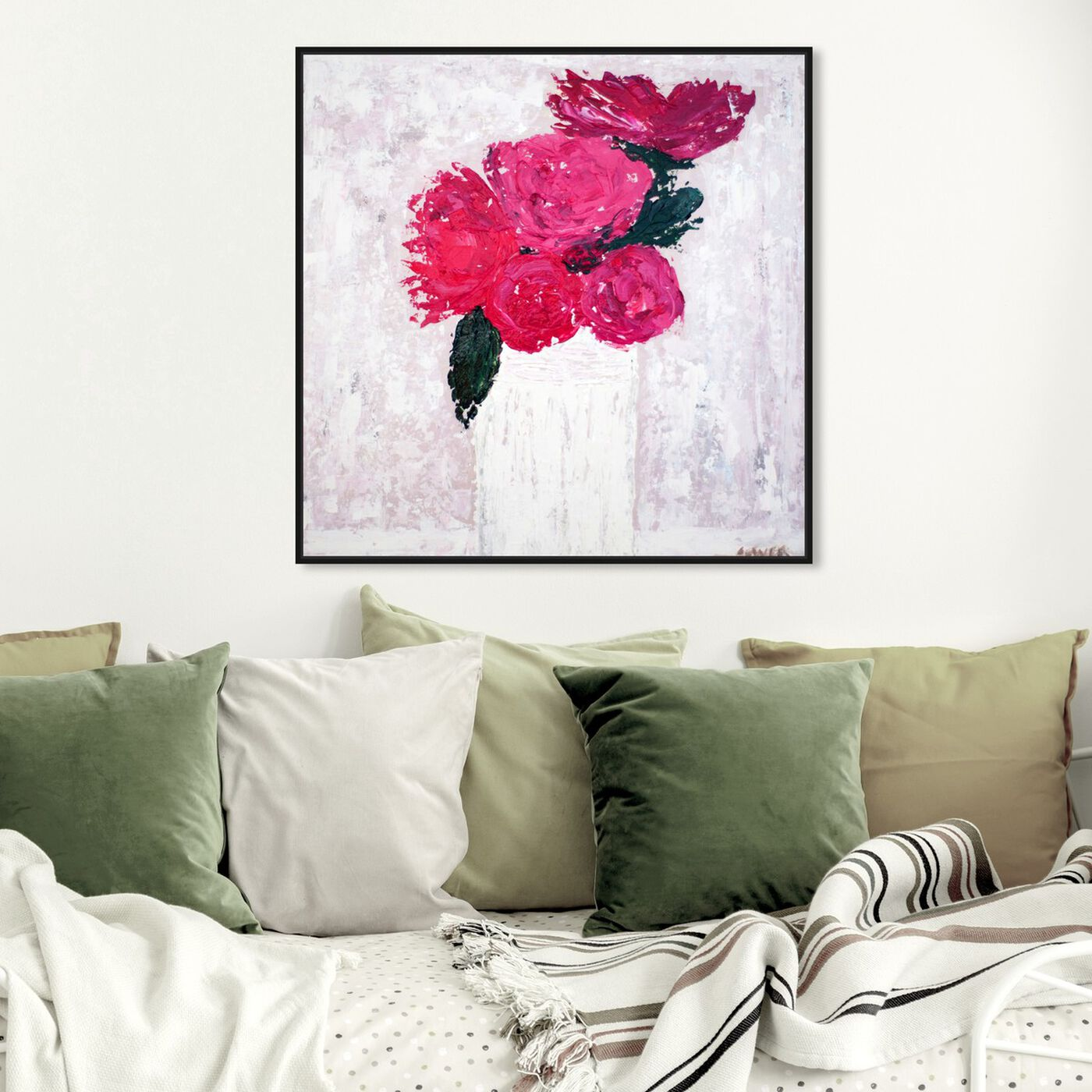 Hanging view of Fleurs du Lumiere VI by Claire Sower featuring floral and botanical and florals art.