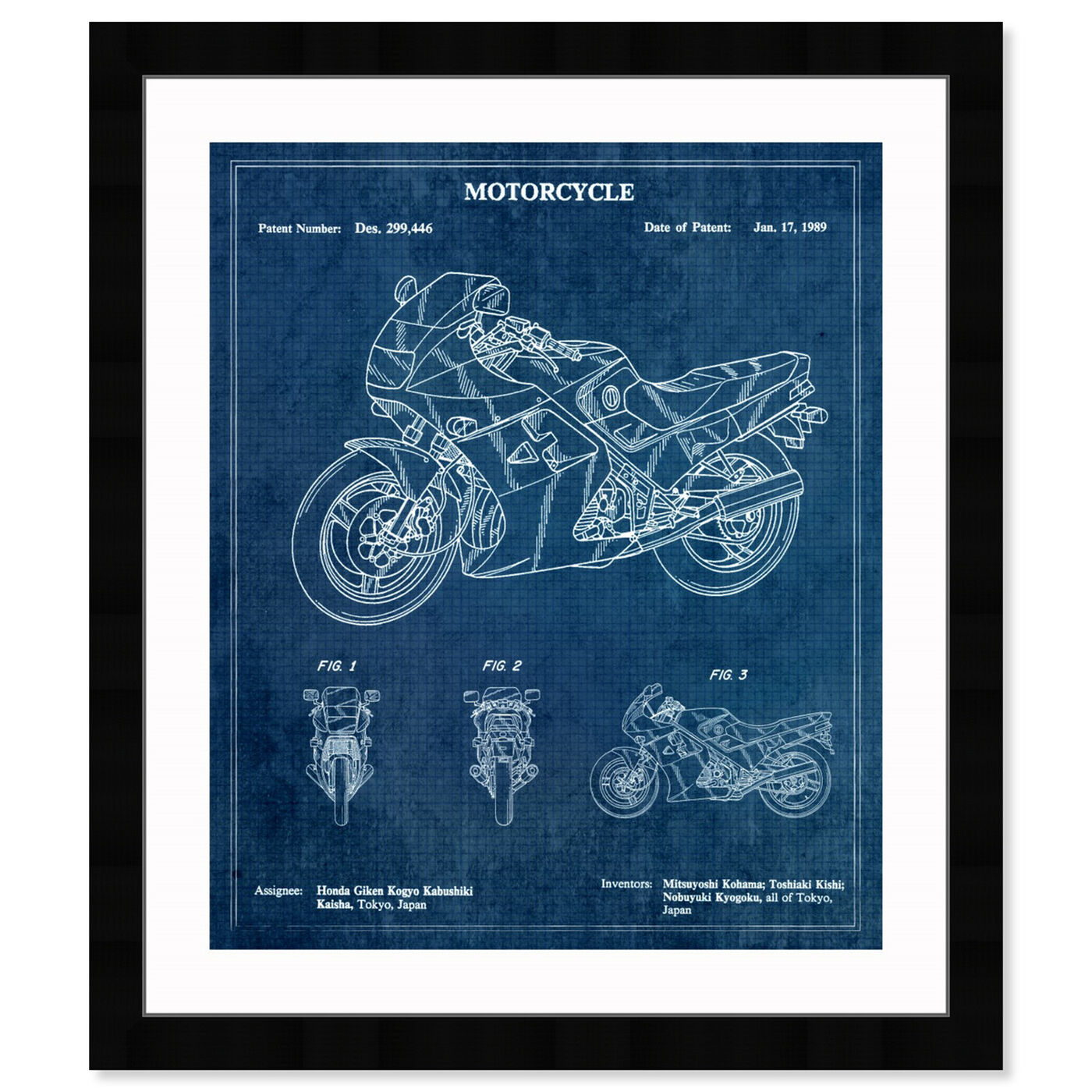 Front view of Motorcycle 1989 featuring transportation and motorcycles art.