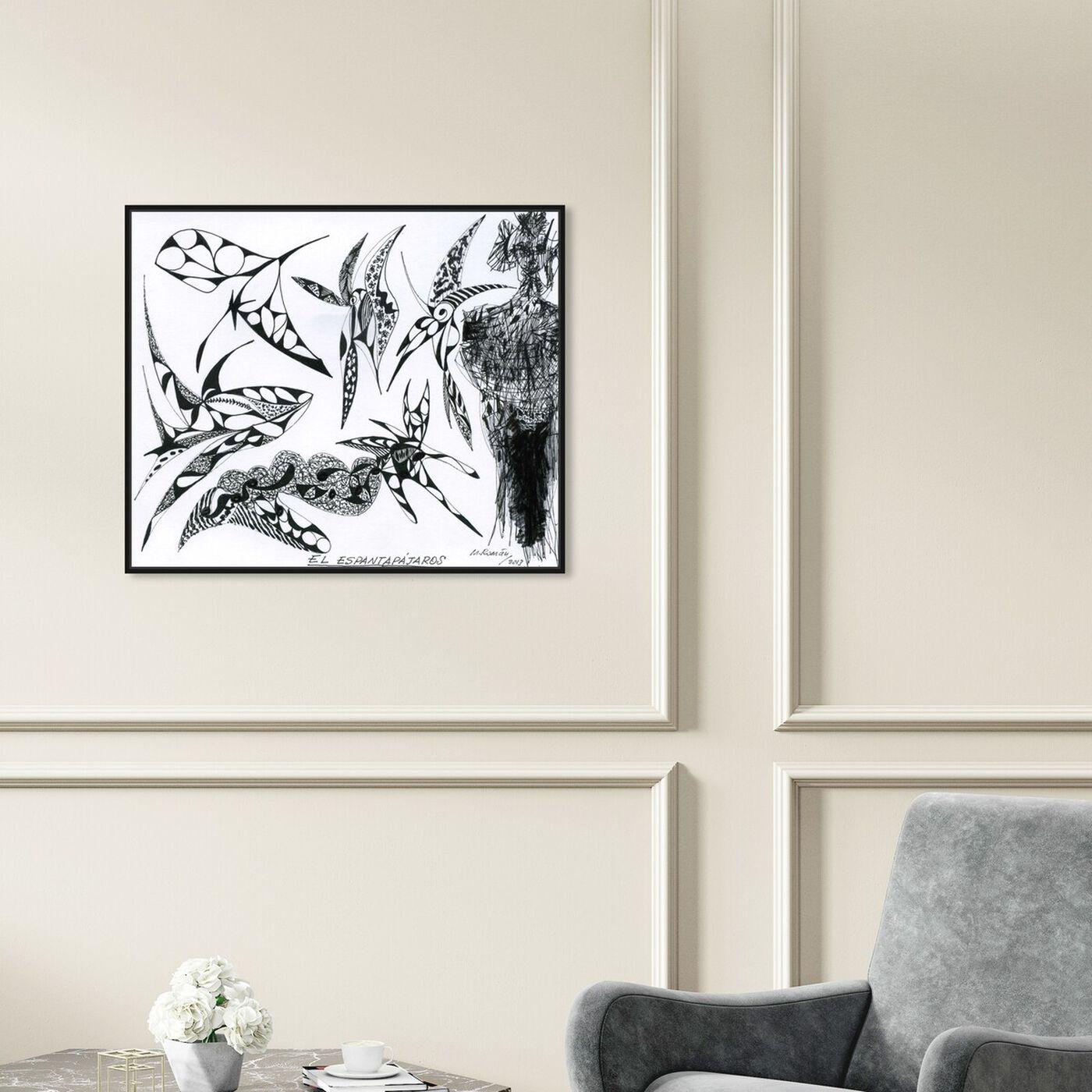 Hanging view of El Espantapajaros featuring abstract and geometric art.