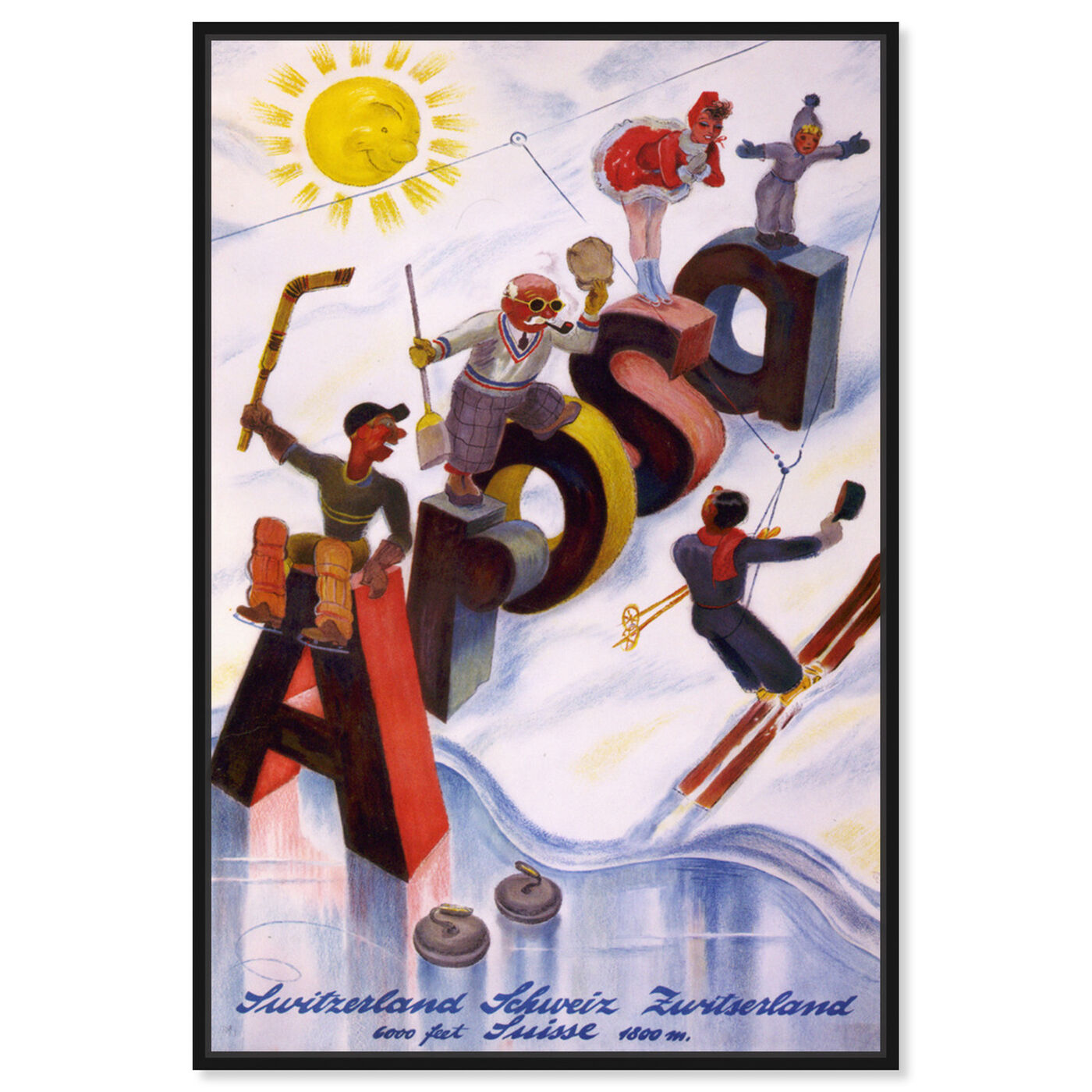Front view of Arosa featuring advertising and posters art.